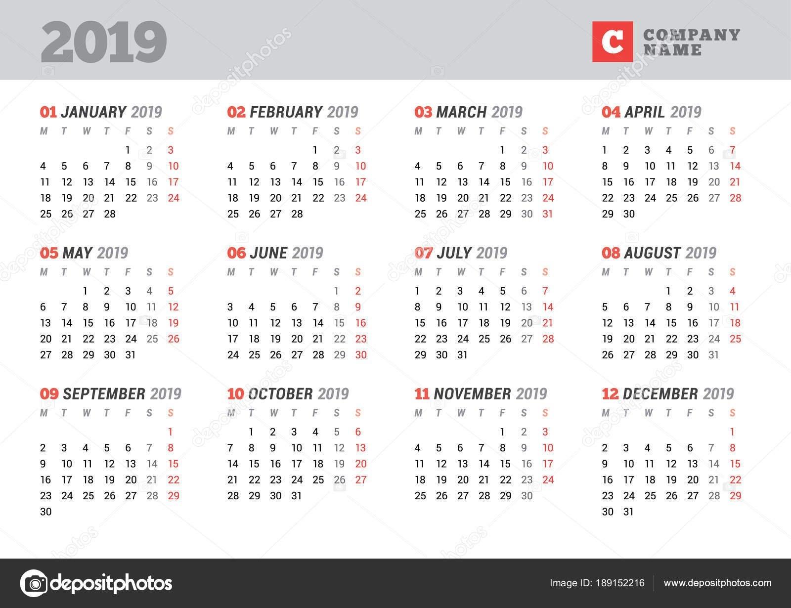 Calendar Template For 2019 Year. Stationery Design. Week Starts On Calendar Week 12 2019