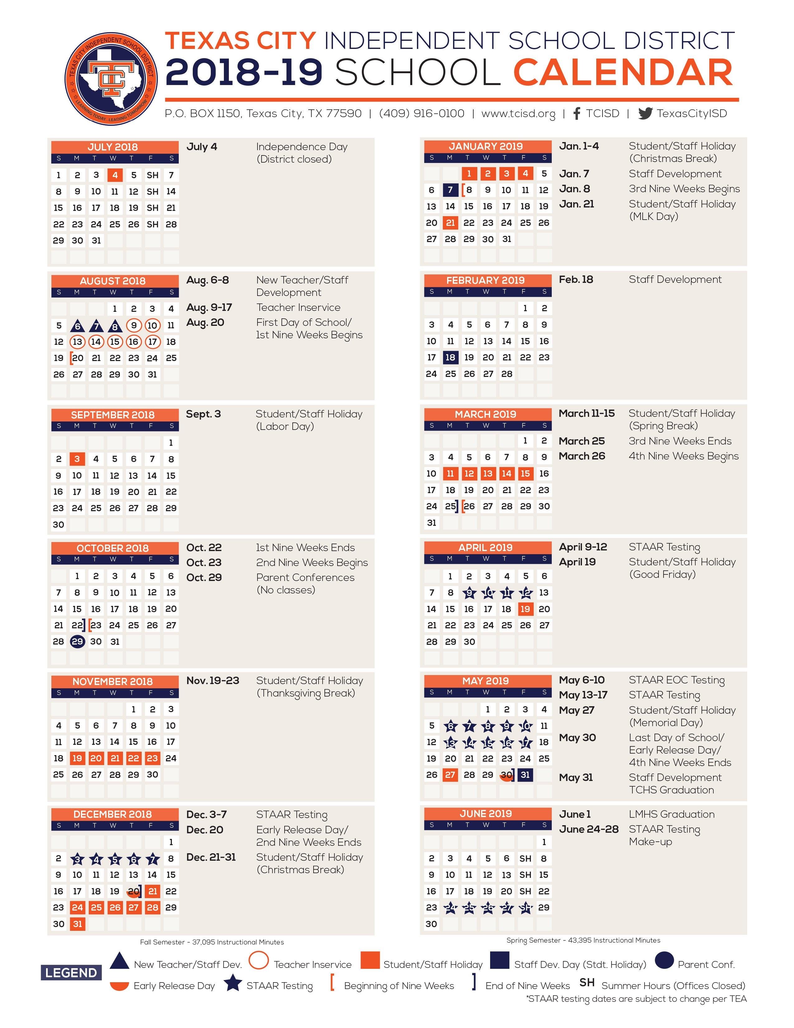Calendar – Texas City Independent School District U Of H Calendar 2019