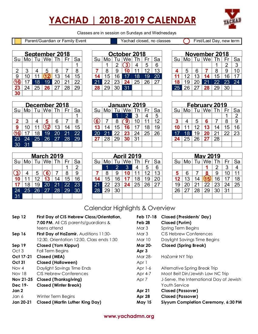 Calendar   Yachad Mn U Of Mn Calendar 2019