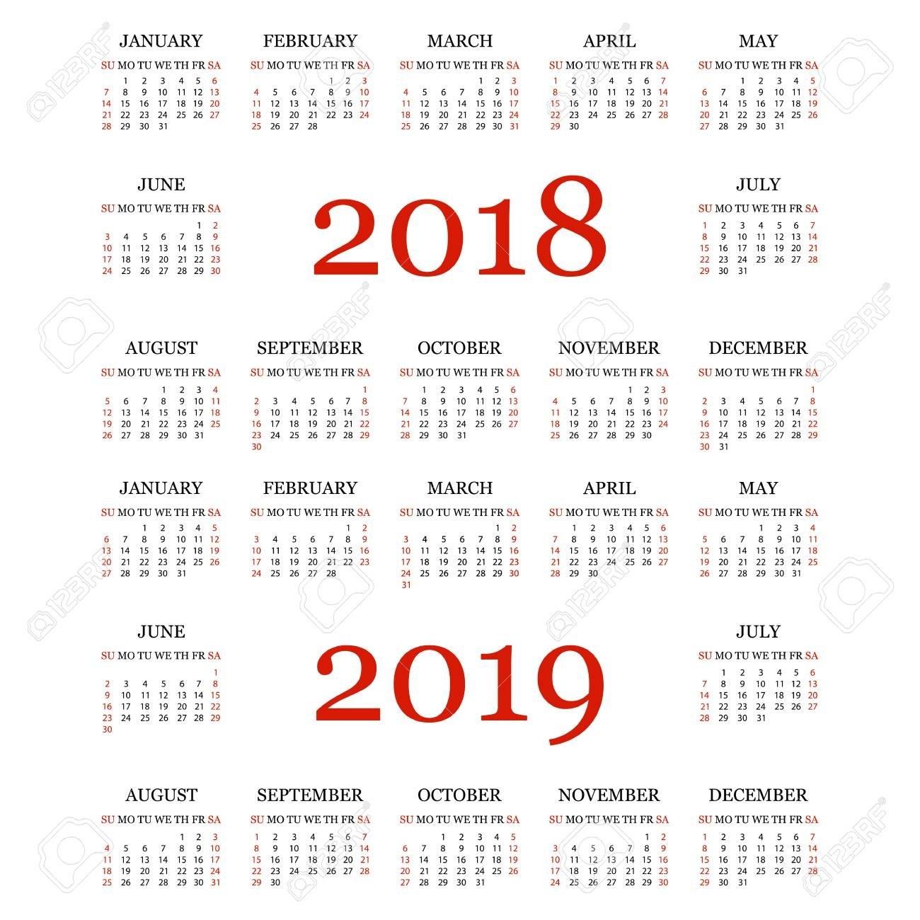 Calendario 2018, 2019. Plantilla De Calendario Simple Para El Año Y 2019 Calendar