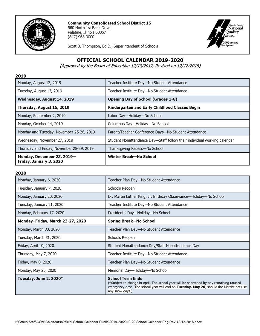 Calendars / 2019 20 Official School Calendar School Calendar 2019 20