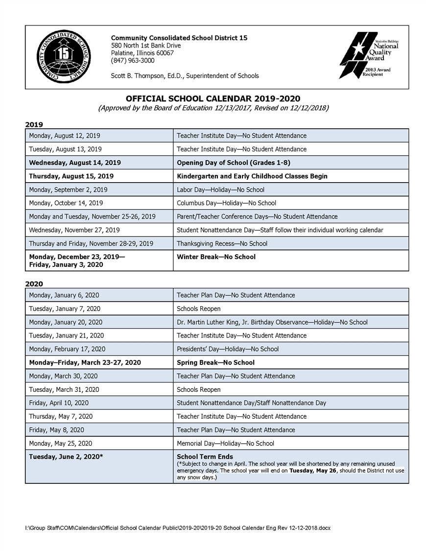 Calendars / 2019 20 Official School Calendar School District 8 2019 Calendar