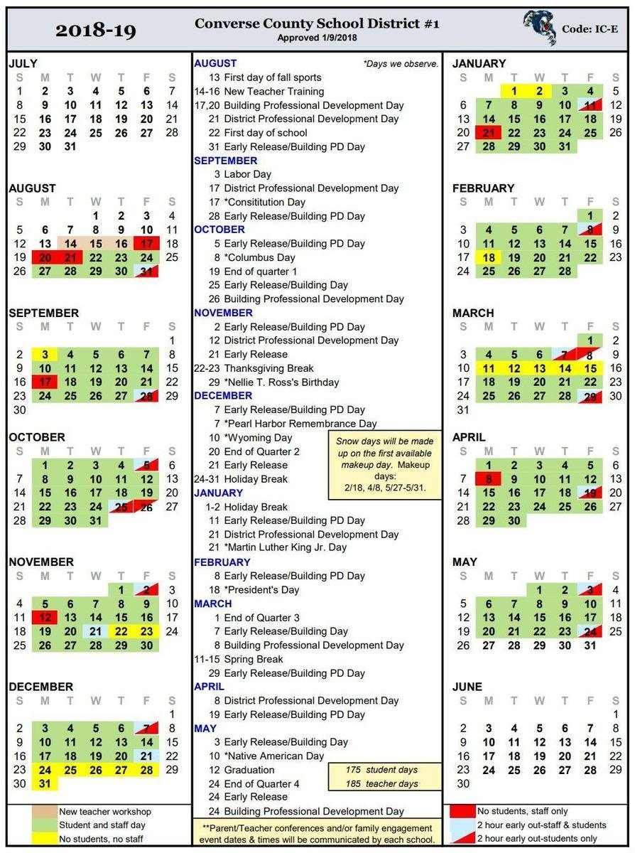 Calendars – Calendar – Converse County School District #1 Ccsd Calendar 2019 20