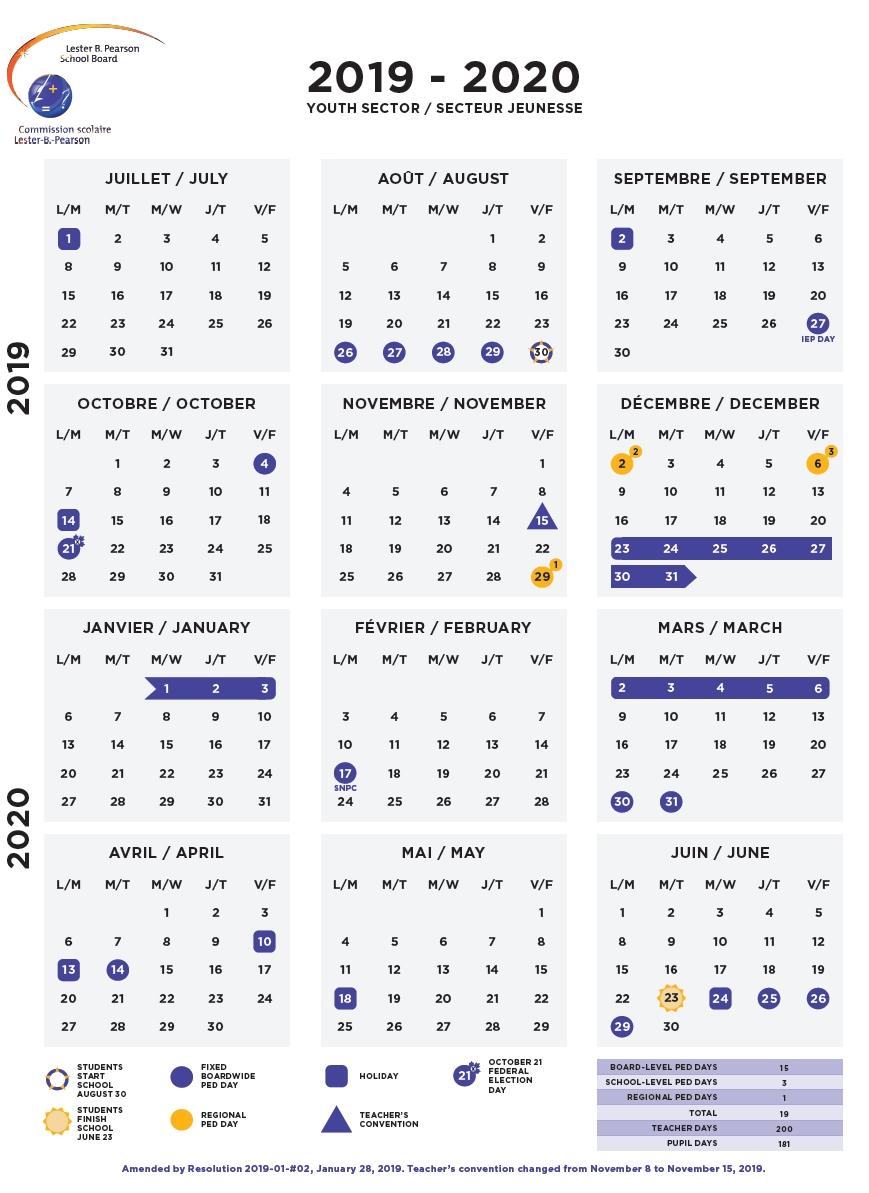 Calendars - Lbpsb Lester B Pearson Calendar 2019