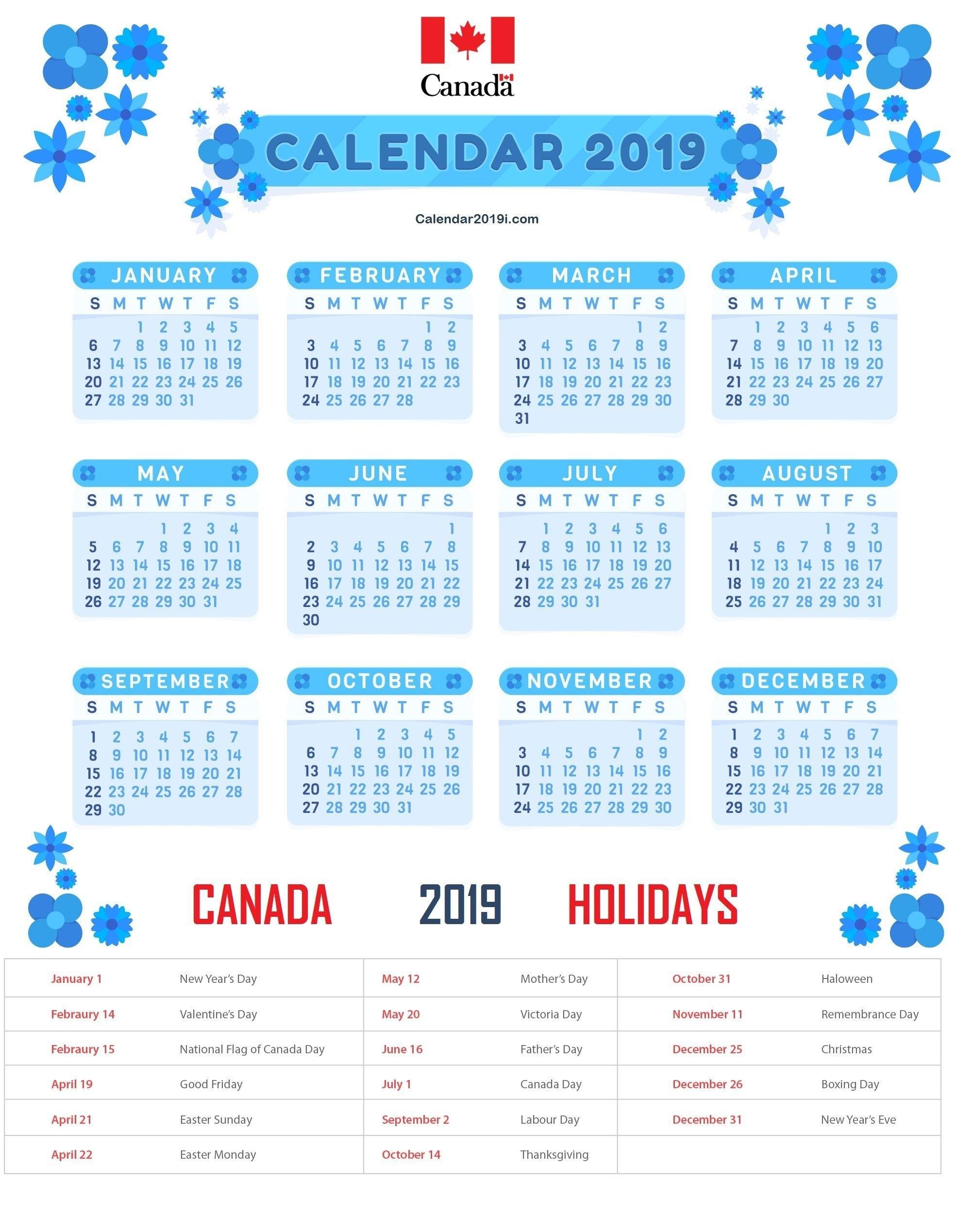 Canada Holidays Calendar 2019 Template #canadacalendar Calendar 2019 Canada Holidays