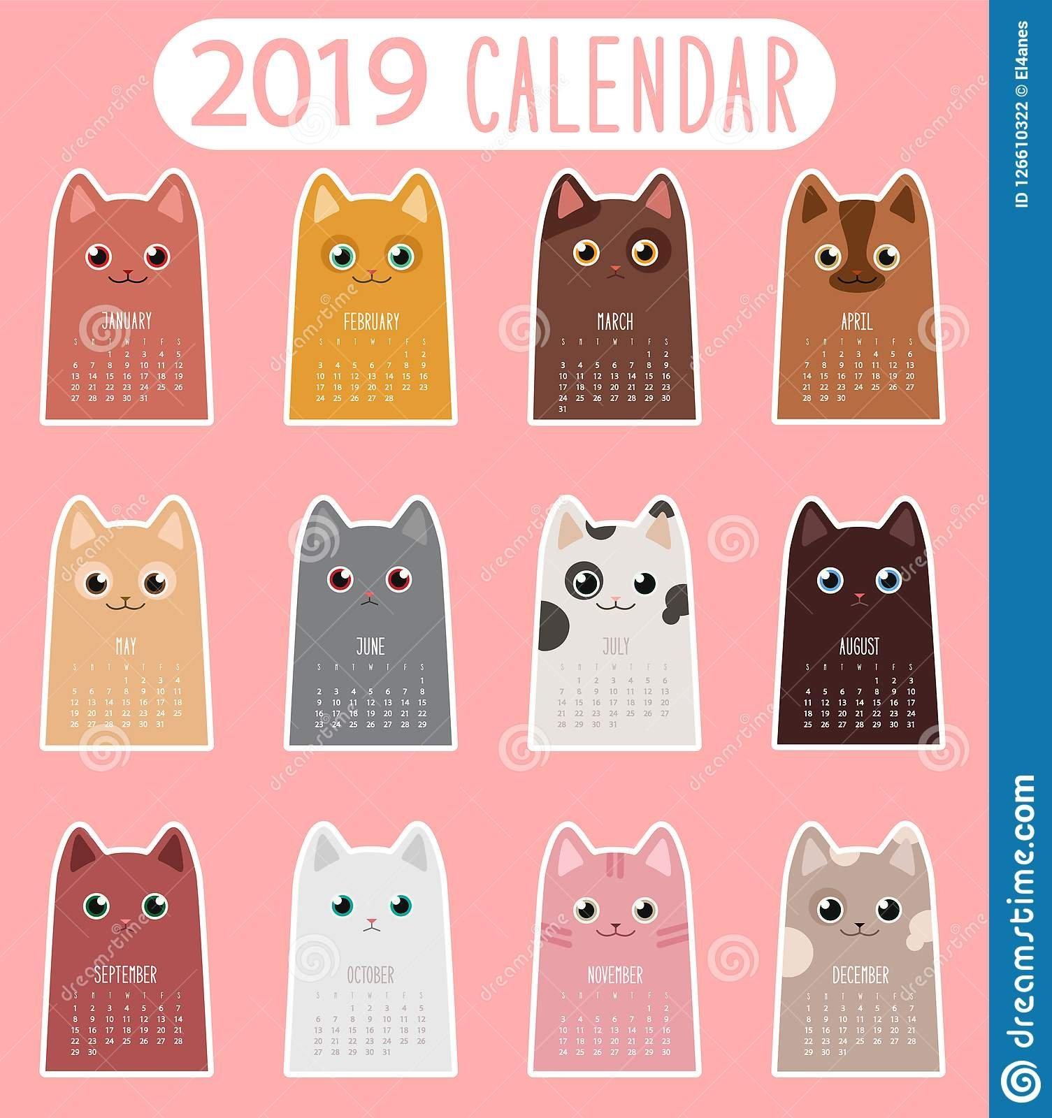 Cat Calendar 2019 Stock Vector. Illustration Of Sticker – 126610322 Calendar 2019 Cats