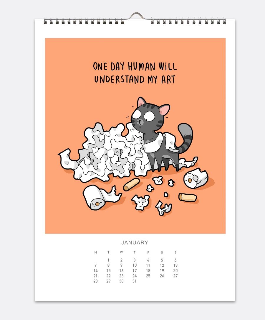 Cats Wall Calendar 2019 | Lingvistov – Online Store Calendar 2019 Cats