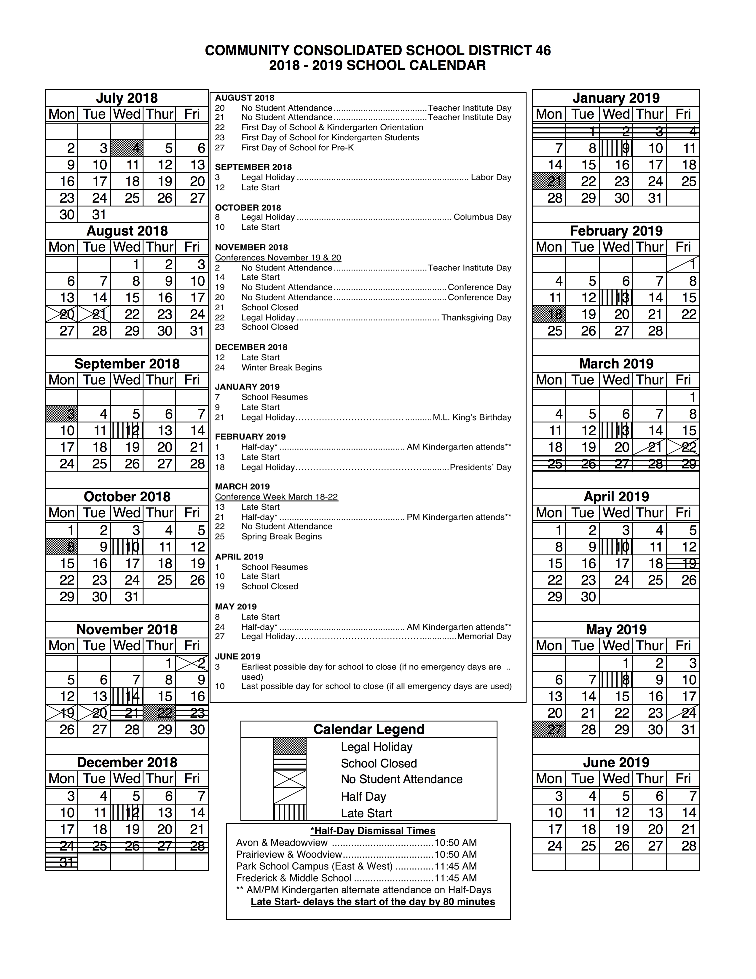 Ccsd 46 - District Calendar U-46 2019 Calendar
