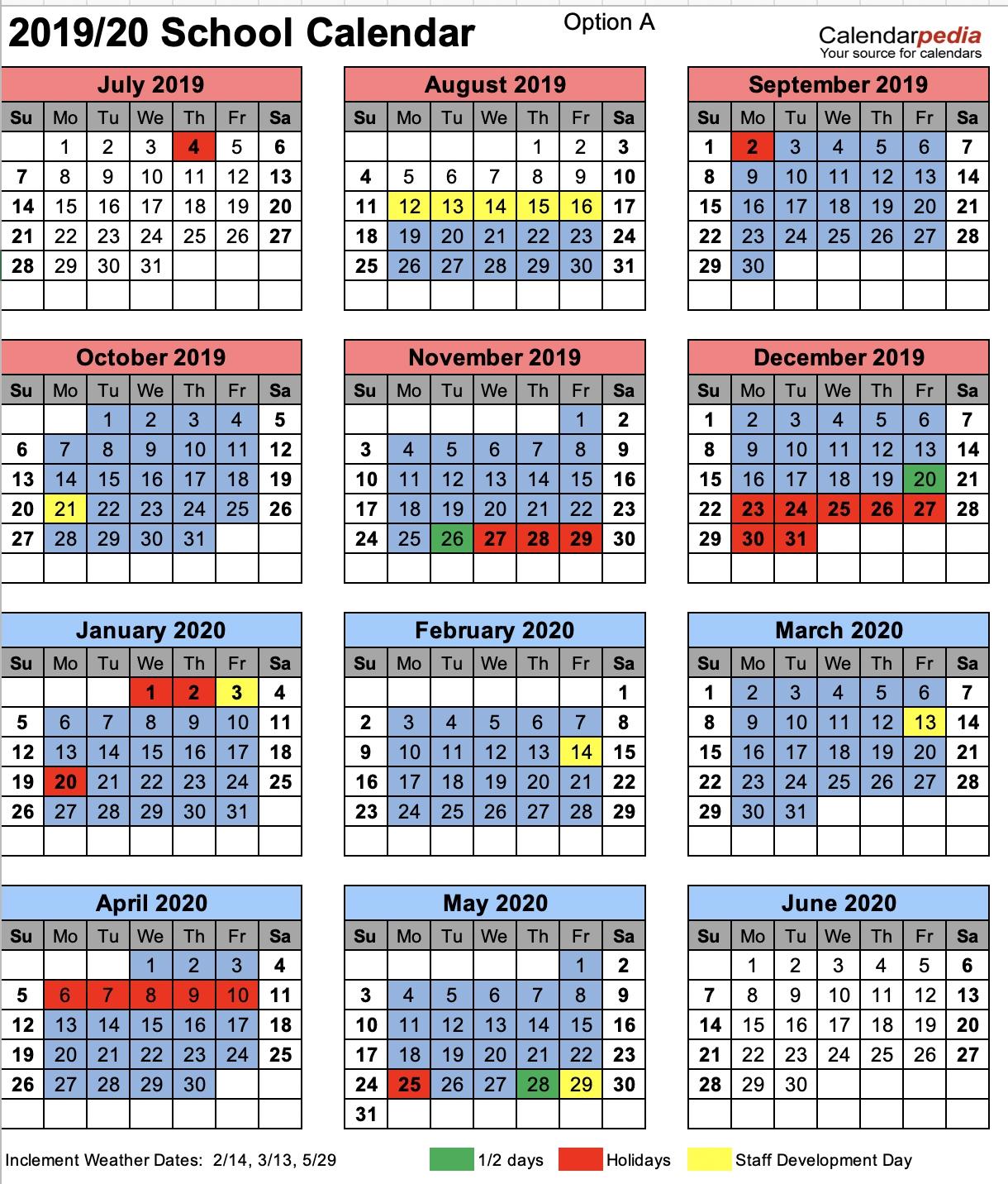 Chesterfield County School District Ccsd Calendar 2019 20