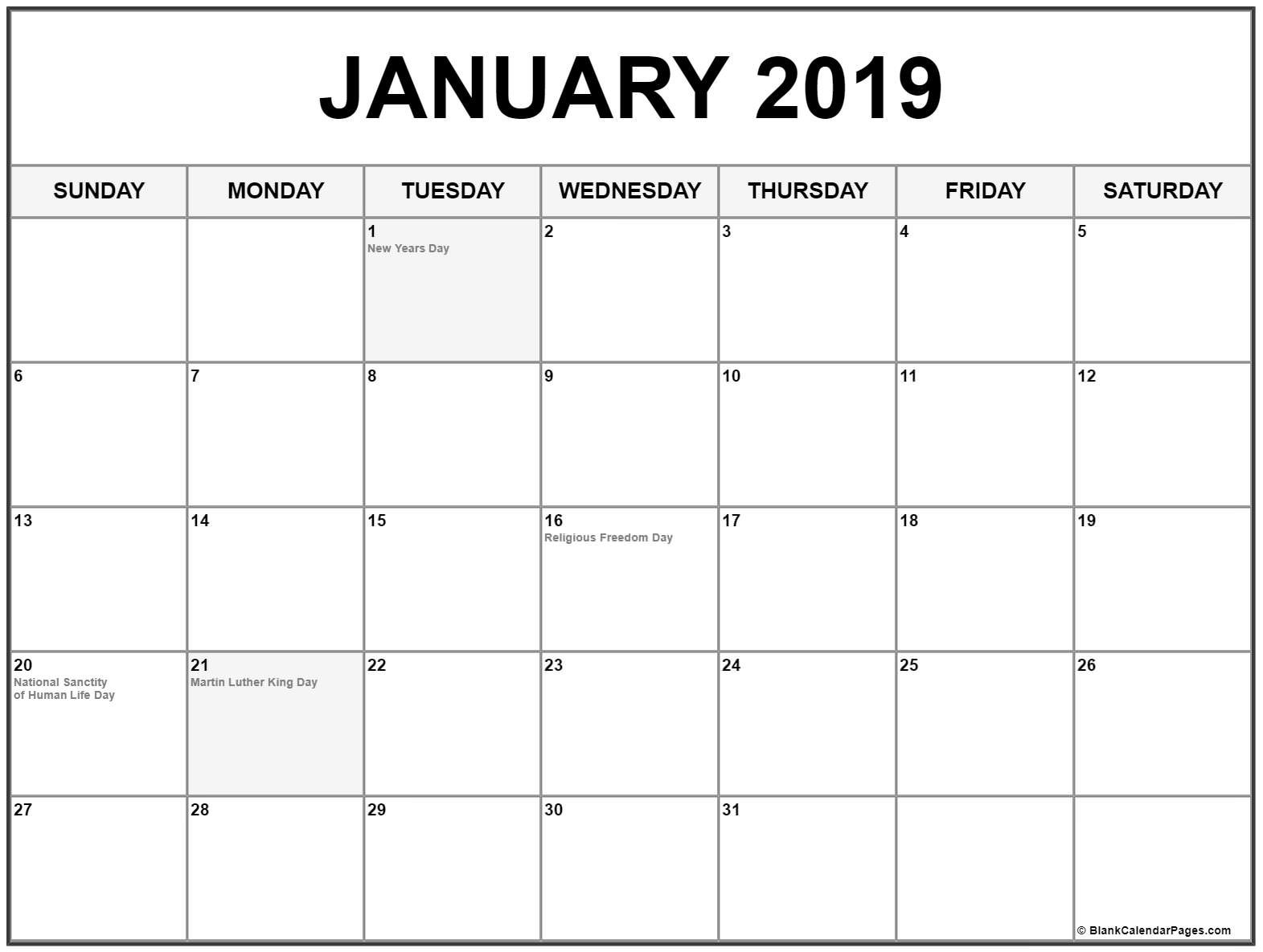 Collection Of January 2019 Calendars With Holidays Calendar 2019 With Holidays Usa
