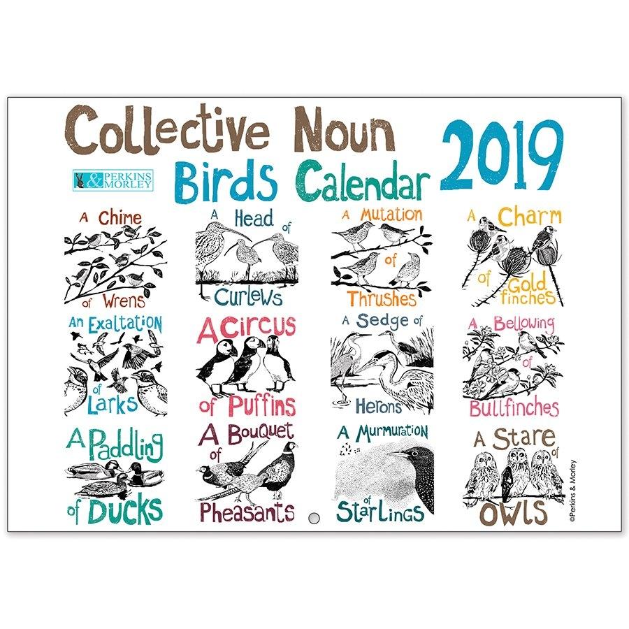 Collective Noun Bird Calendar 2019 – Perkins And Morley Shop Calendar 2019 Birds