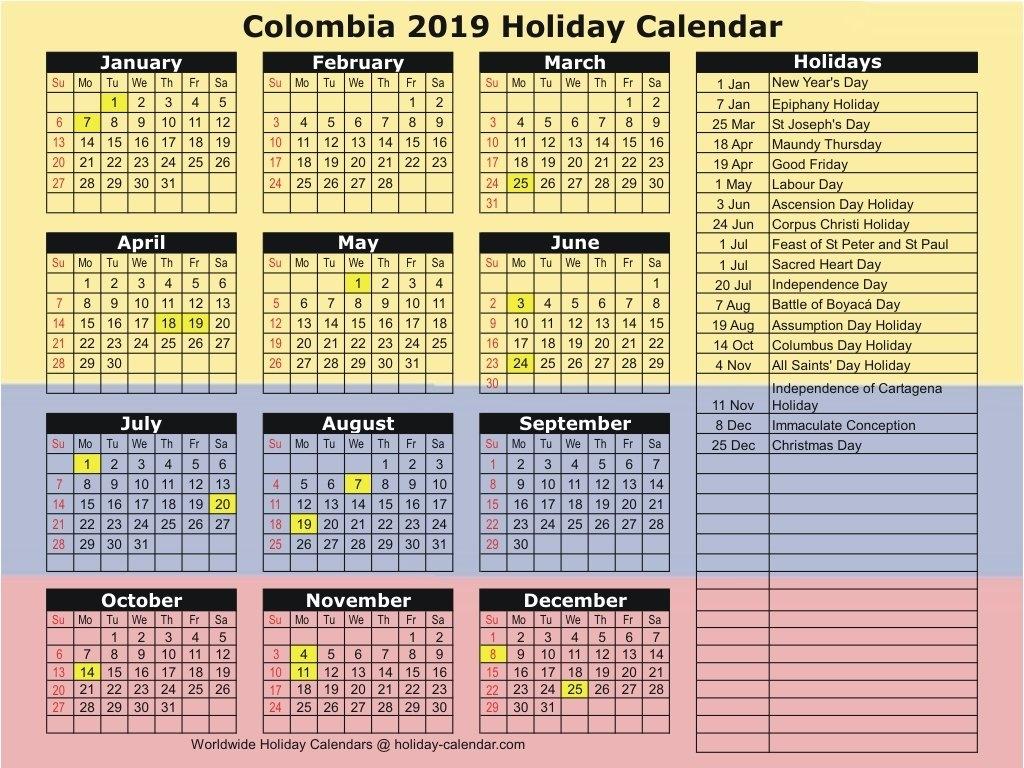 Colombia 2019 / 2020 Holiday Calendar Calendar 2019 Colombia