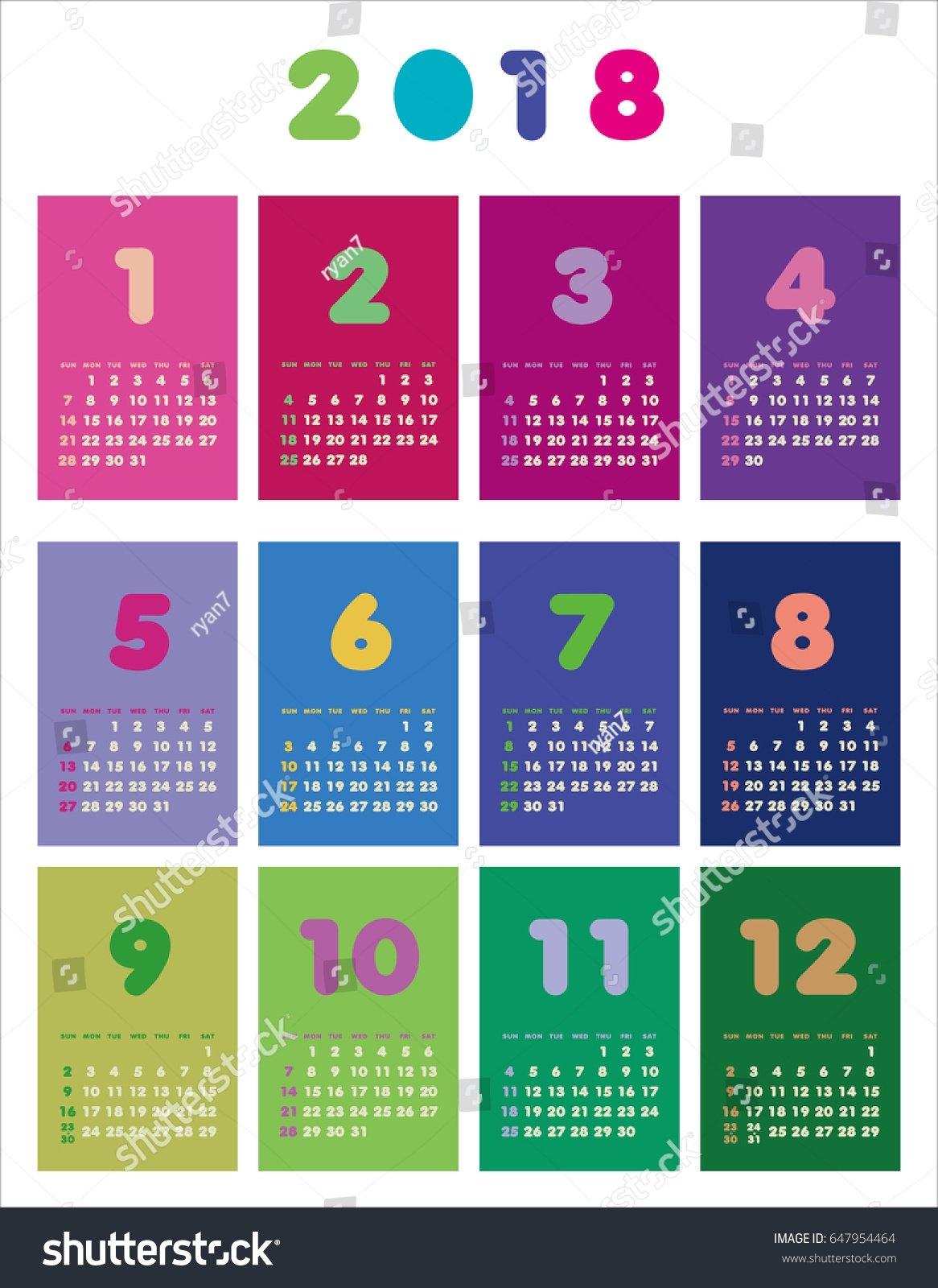 Colorful Calendar 2018 Years Week Starts Stock Vector (Royalty Free 9R Calendar 2019