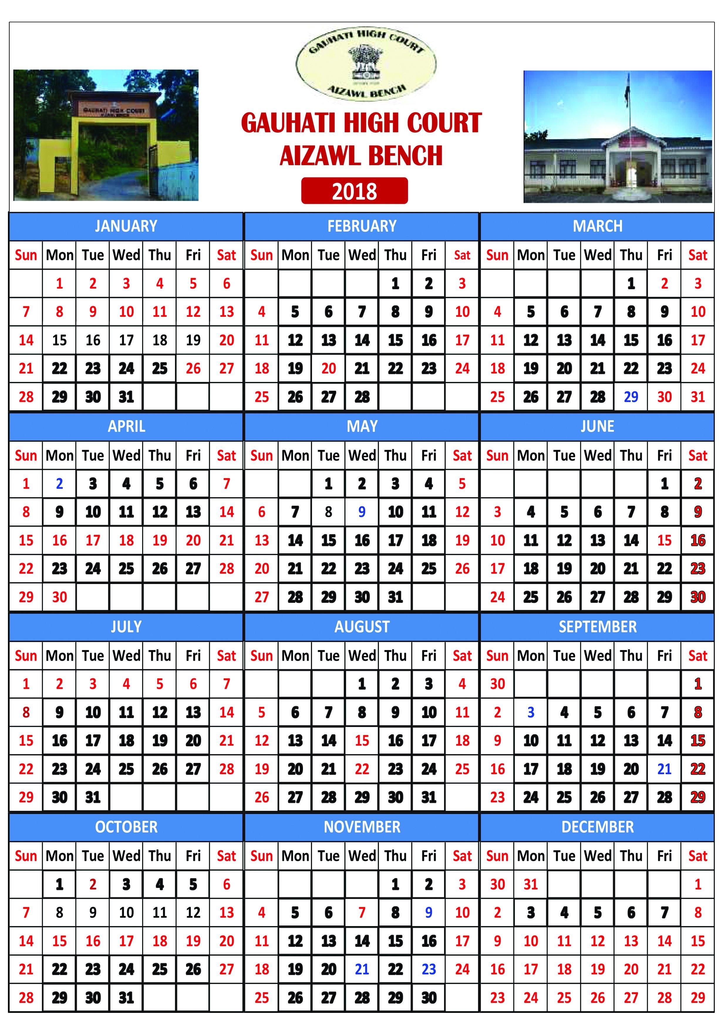 Court Calendar   Latest Laws Calendar 2019 Karnataka