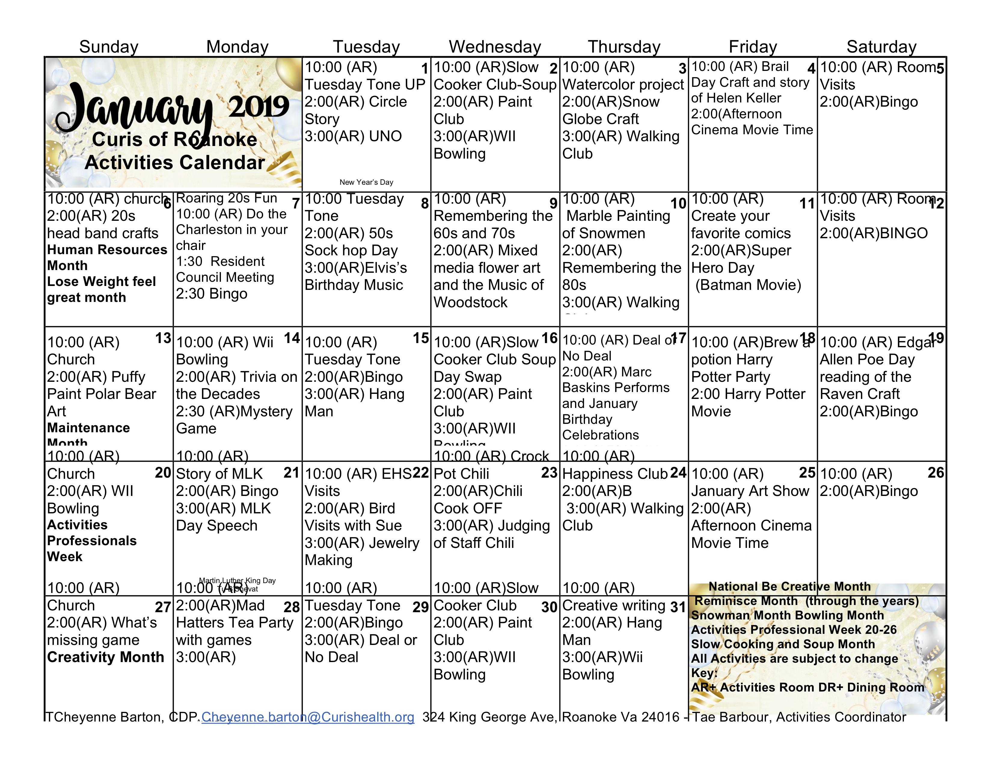 Curis Roanoke Activities Calendar January 2019 – Curis Roanoke 2019 Calendar 80S