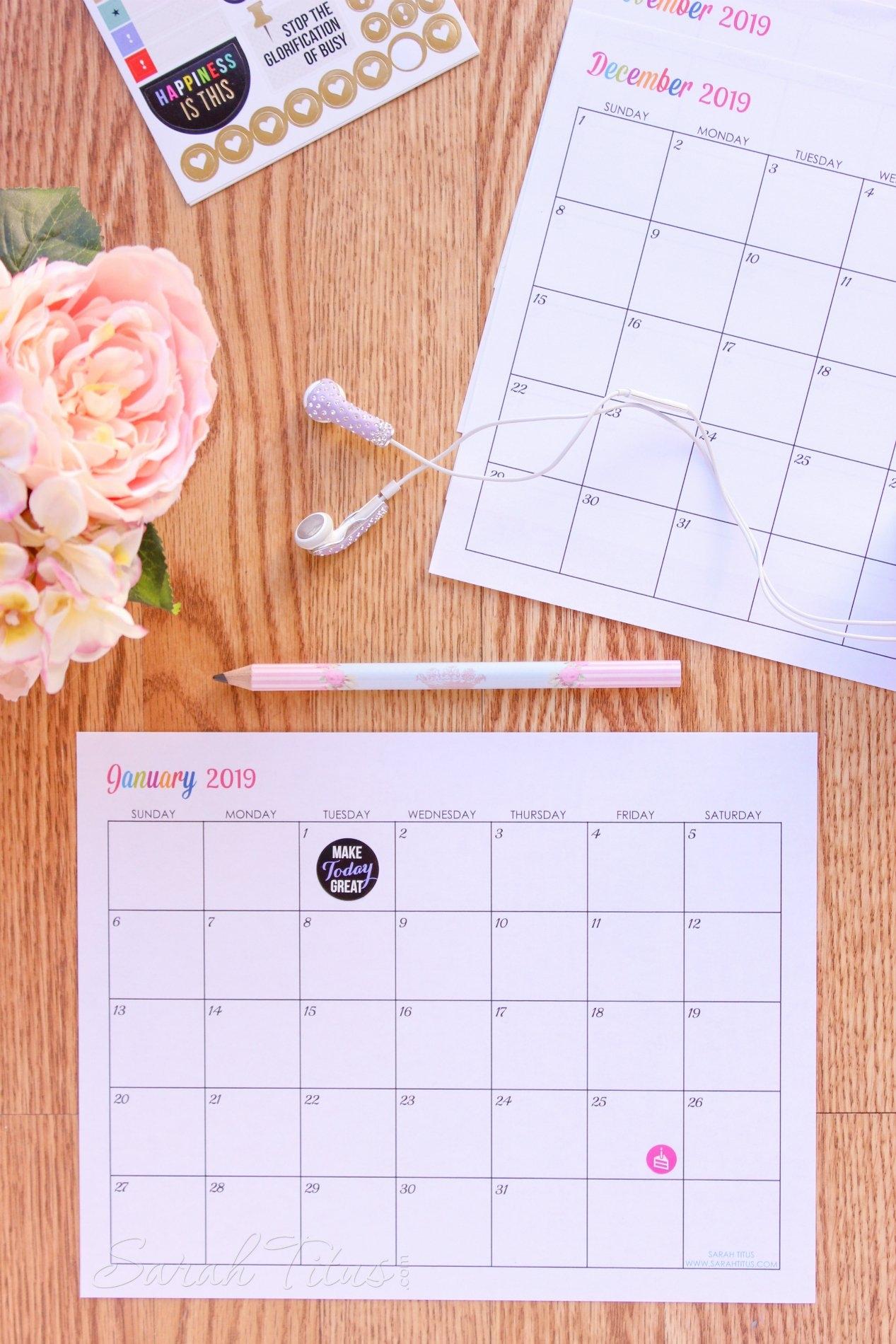 Custom Editable Free Printable 2019 Calendars – Sarah Titus Calendar 2019 Custom