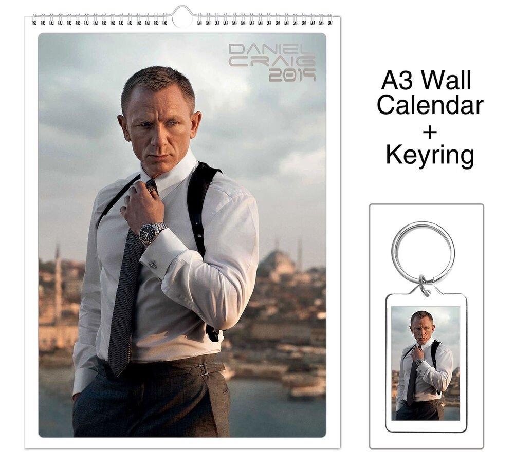 Daniel Craig James Bond 007 2019 Wall Holiday Calendar + Keyring   Ebay 007 Calendar 2019