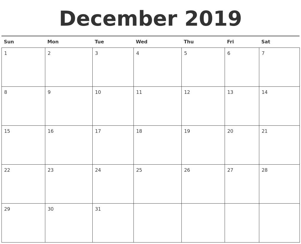 December 2019 Calendar Printable Calendar 2019 December