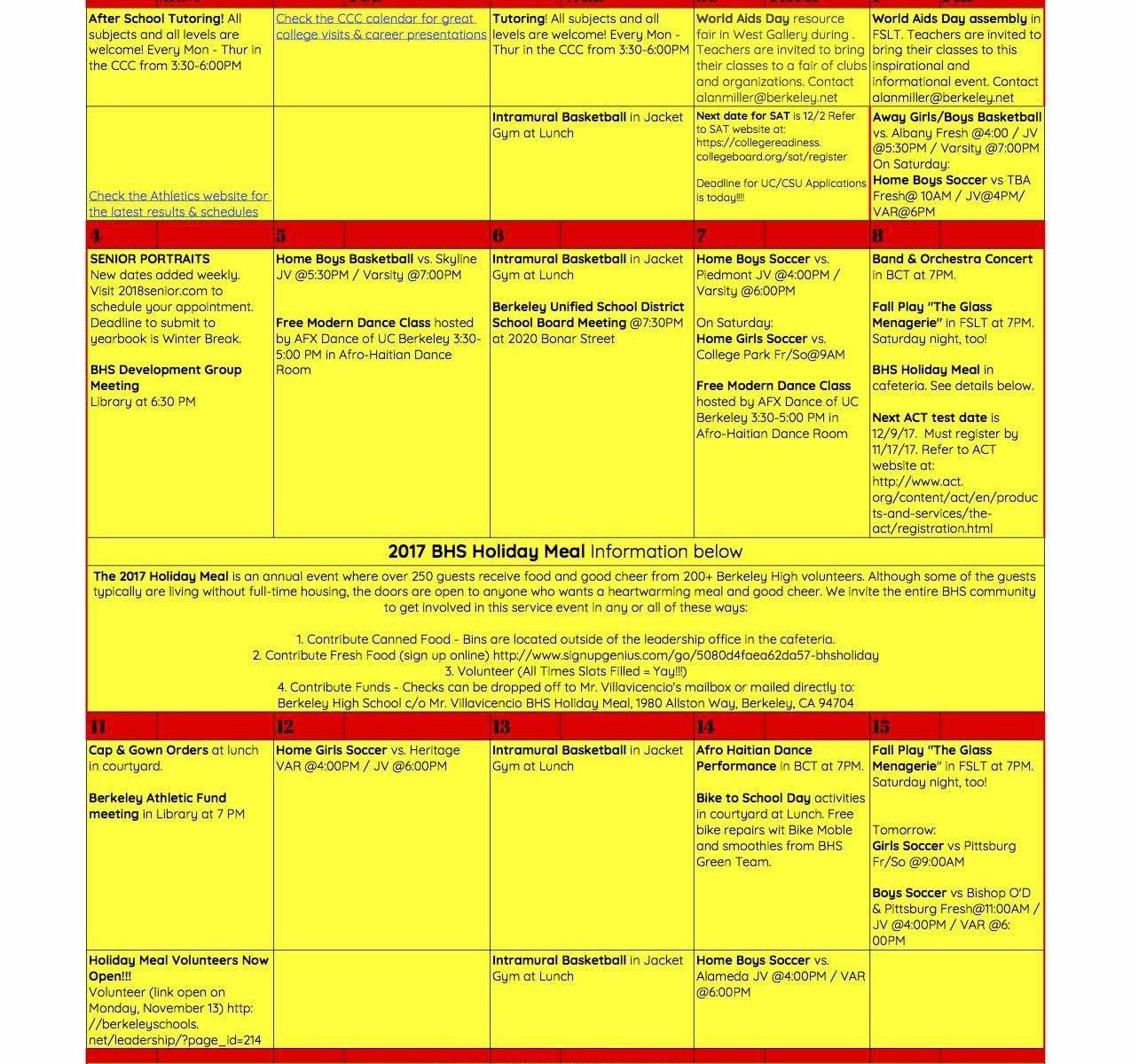December Asb Calendar Of Activities – Berkeley High Asb Leadership Uc Berkeley Academic Calendar 2019 20