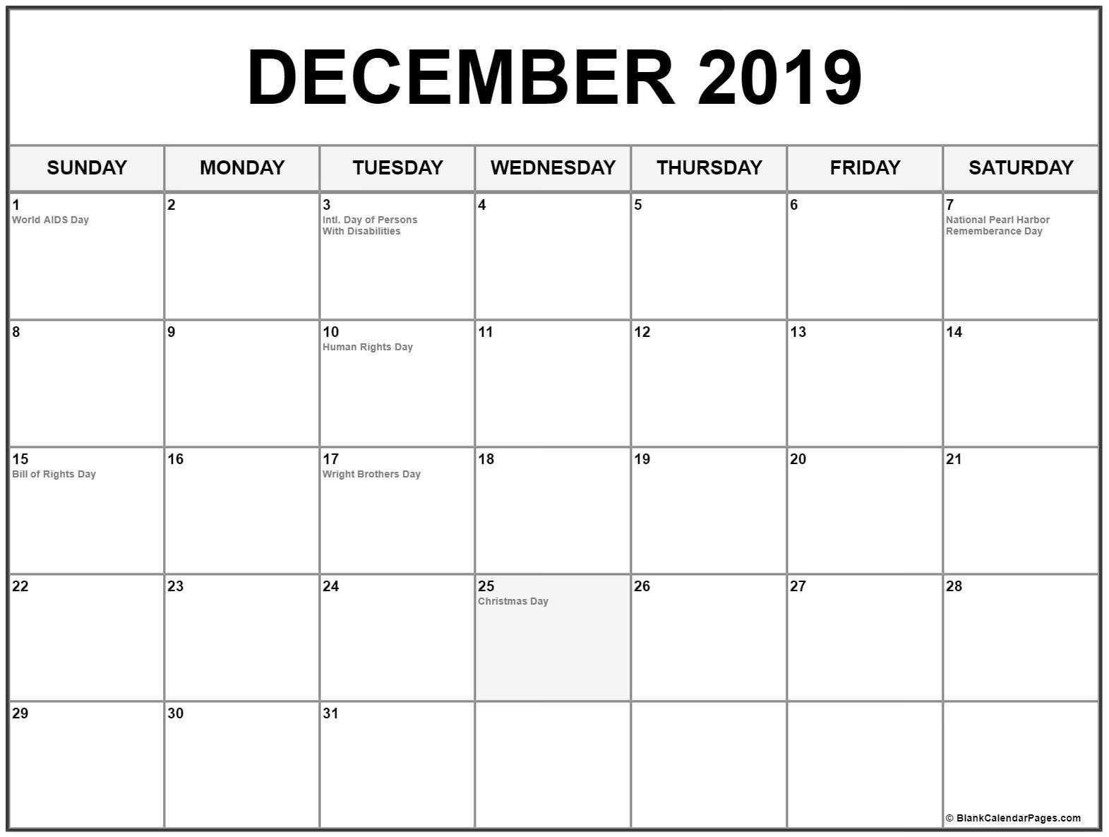 December Calendar 2019 #december #december2019 #december2019Calendar Calendar 2019 December