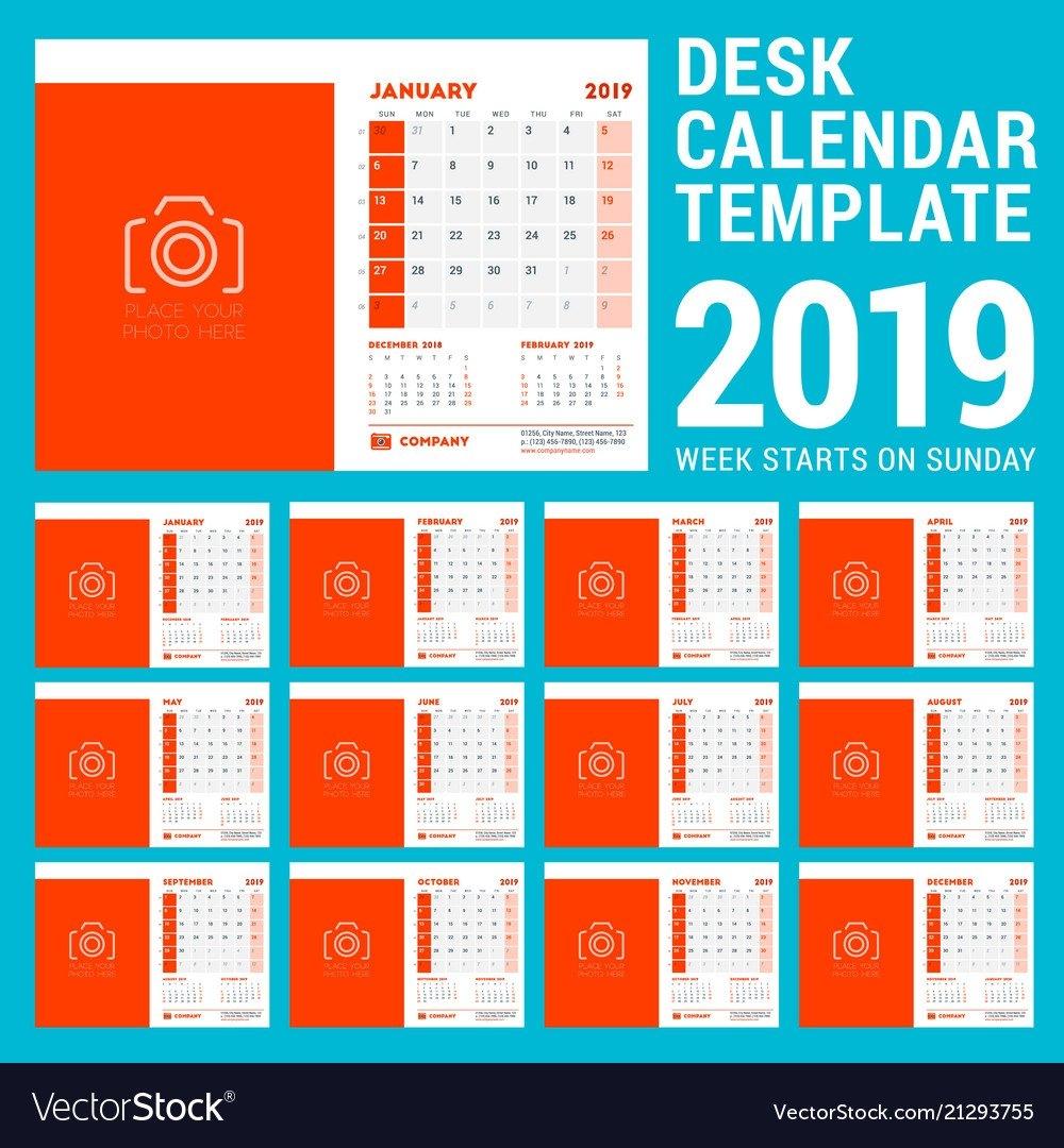 Desk Calendar Design Template For 2019 Year Week Vector Image Calendar 2019 Desk