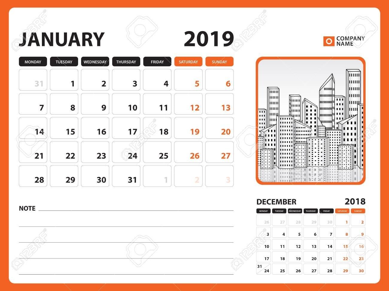 Desk Calendar For January 2019 Template, Printable Calendar Calendar 2019 Desk