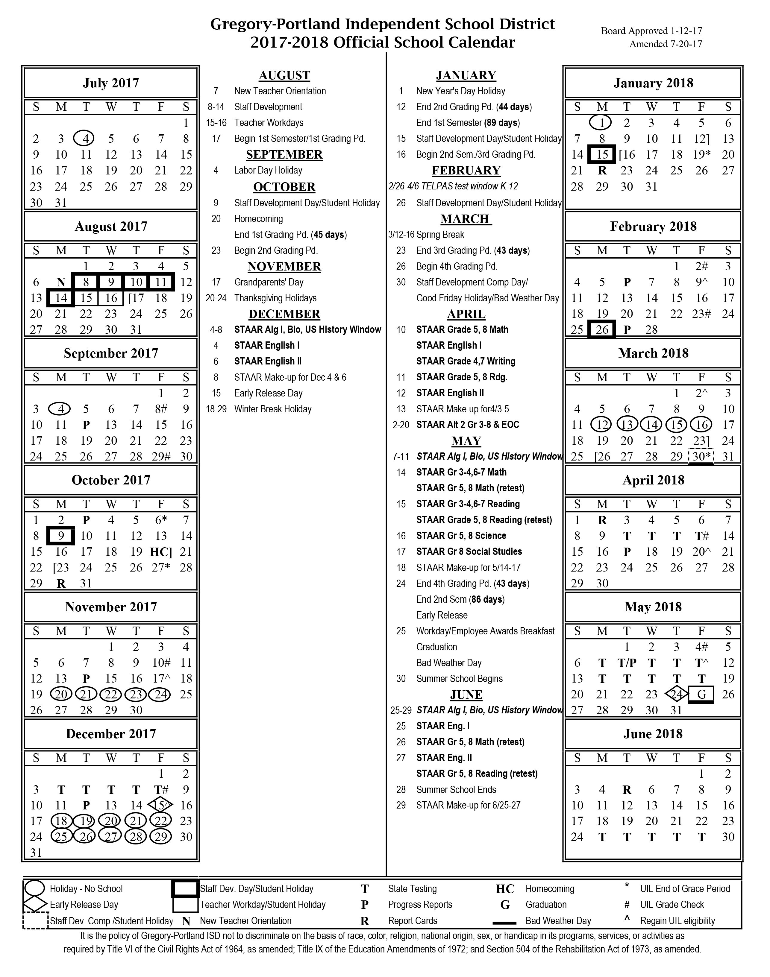 District Calendar, 2017 18 – Gregory Portland Independent School Stephen F Austin Calendar 2019