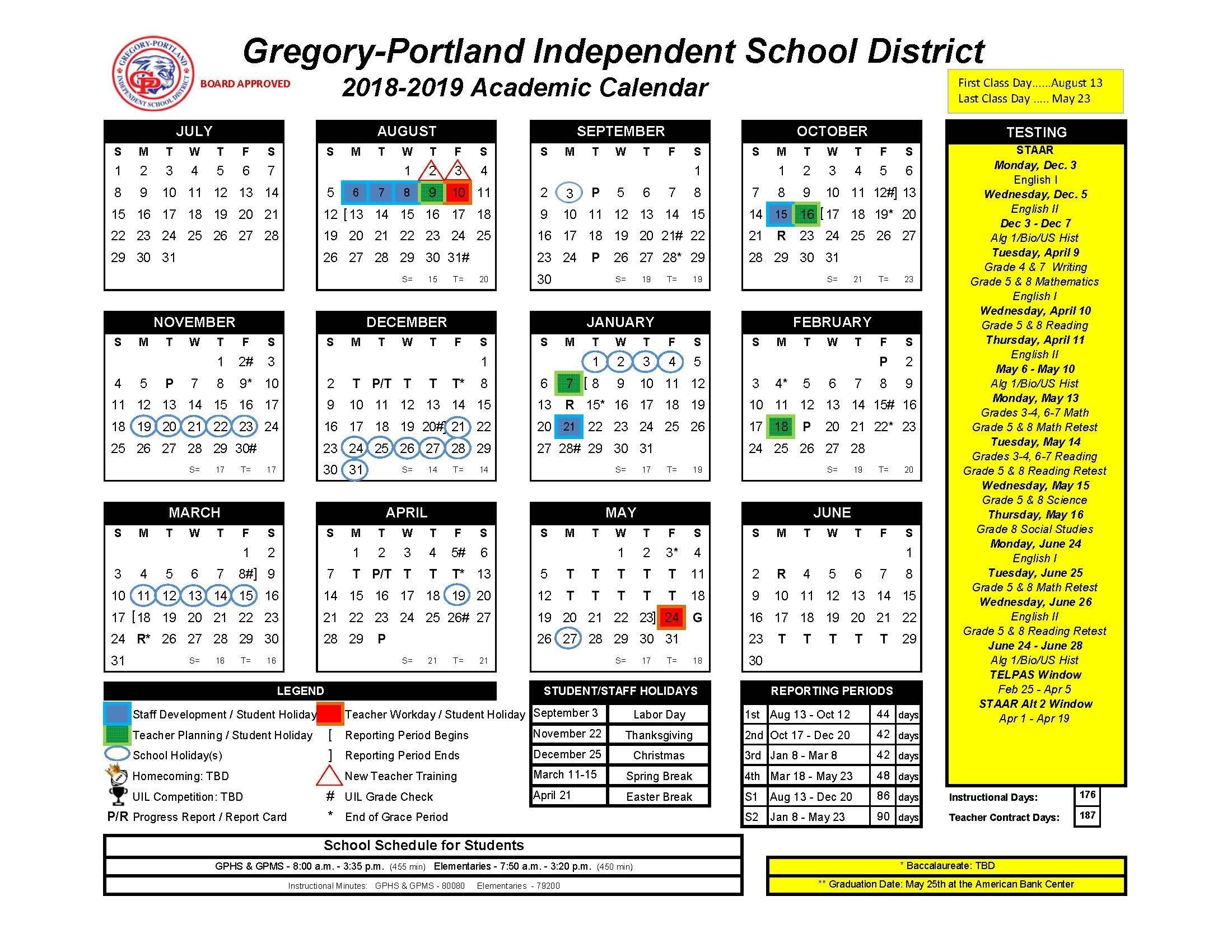 District Calendar, 2018 19 – Gregory Portland Independent School School District 5 Calendar 2019