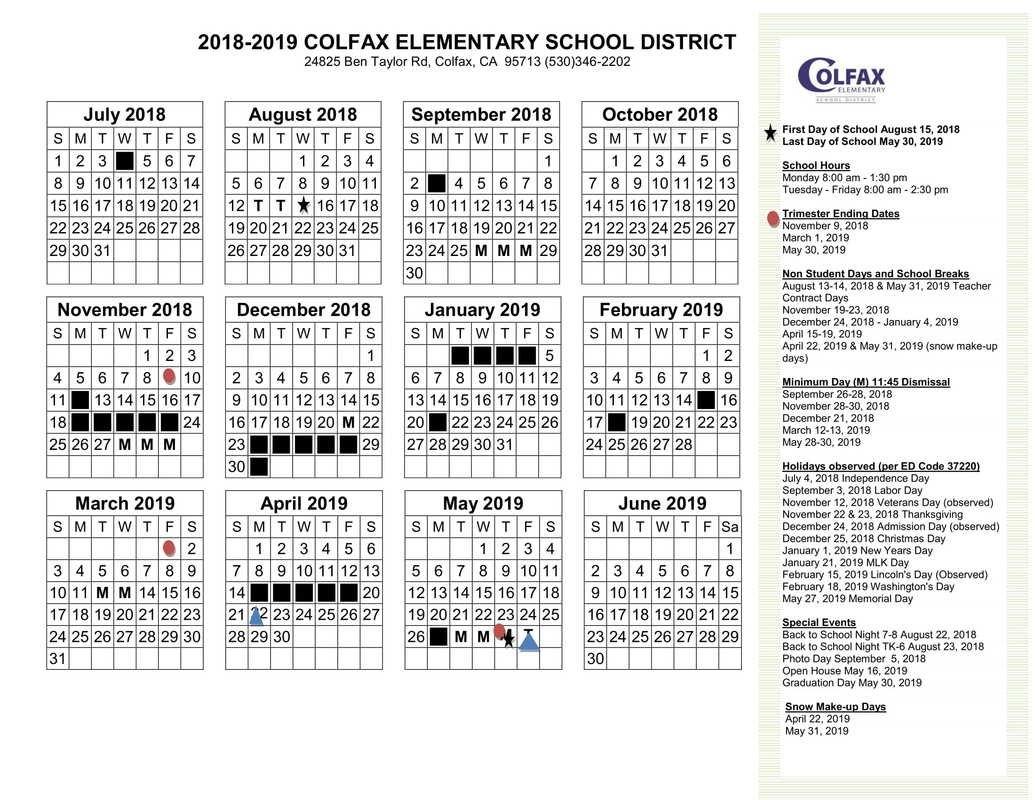 District Calendar 2018 2019 Calendar 1/2019