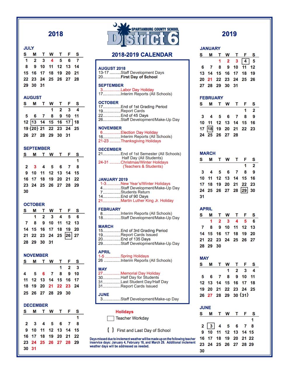 District Calendar – Students And Parents – R. P. Dawkins Middle Spartanburg District 6 2019 Calendar