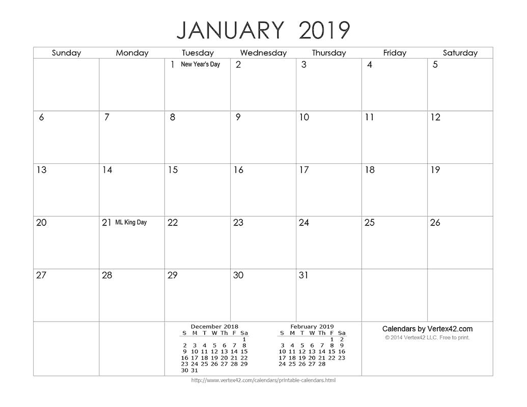 Download A Free Printable Ink Saver 2019 Calendar From Vertex42 Calendar 2019 Vertex 42