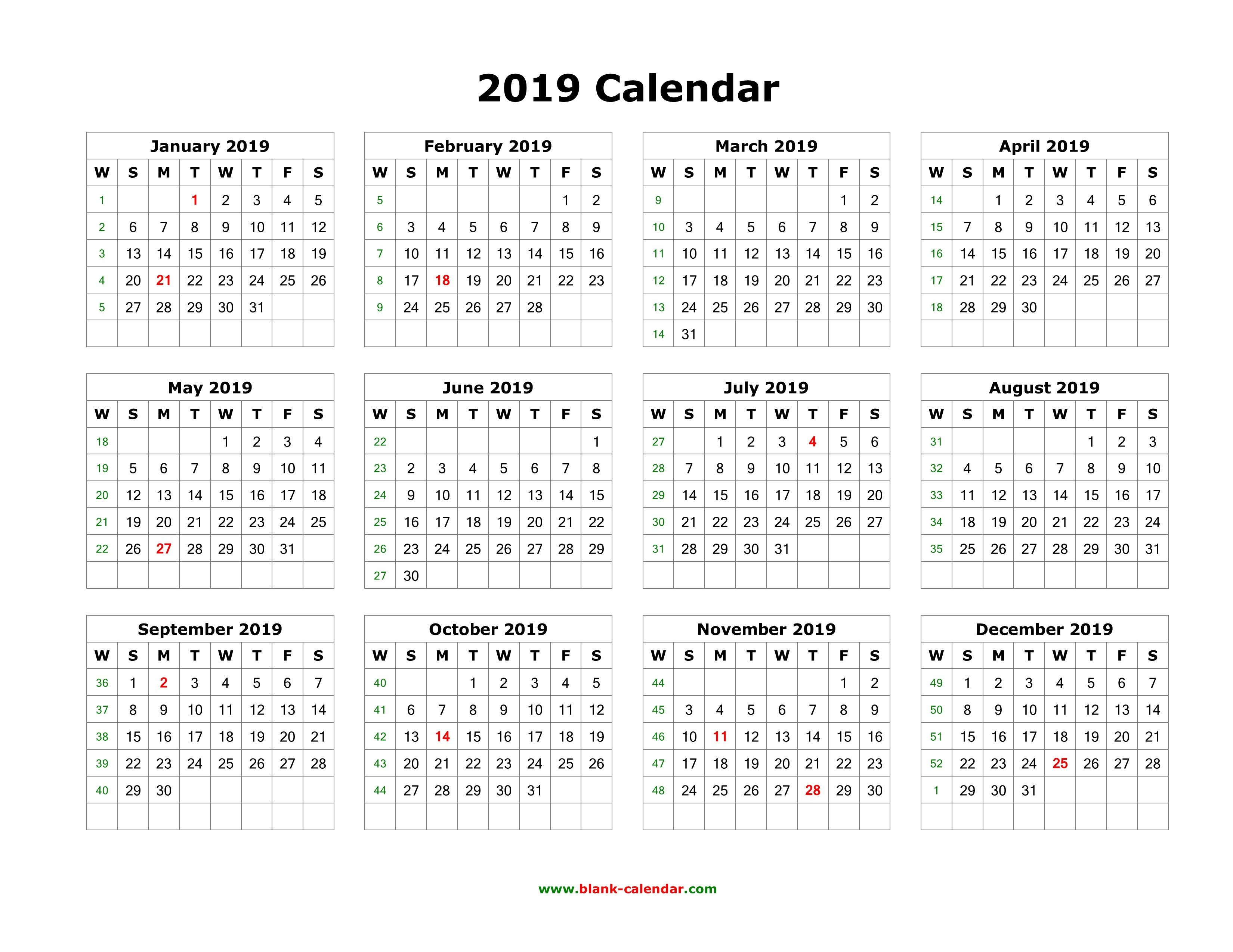 Download Blank Calendar 2019 (12 Months On One Page, Horizontal) Calendar 2019 One Page