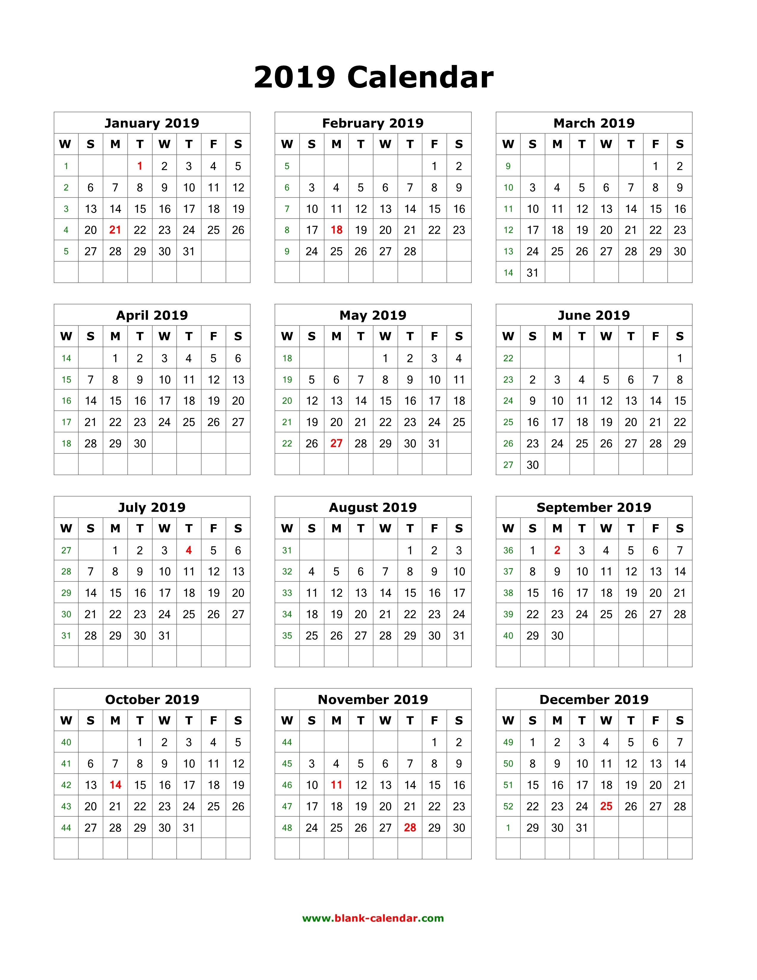 Download Blank Calendar 2019 (12 Months On One Page, Vertical) 1 Page Yearly Calendar 2019