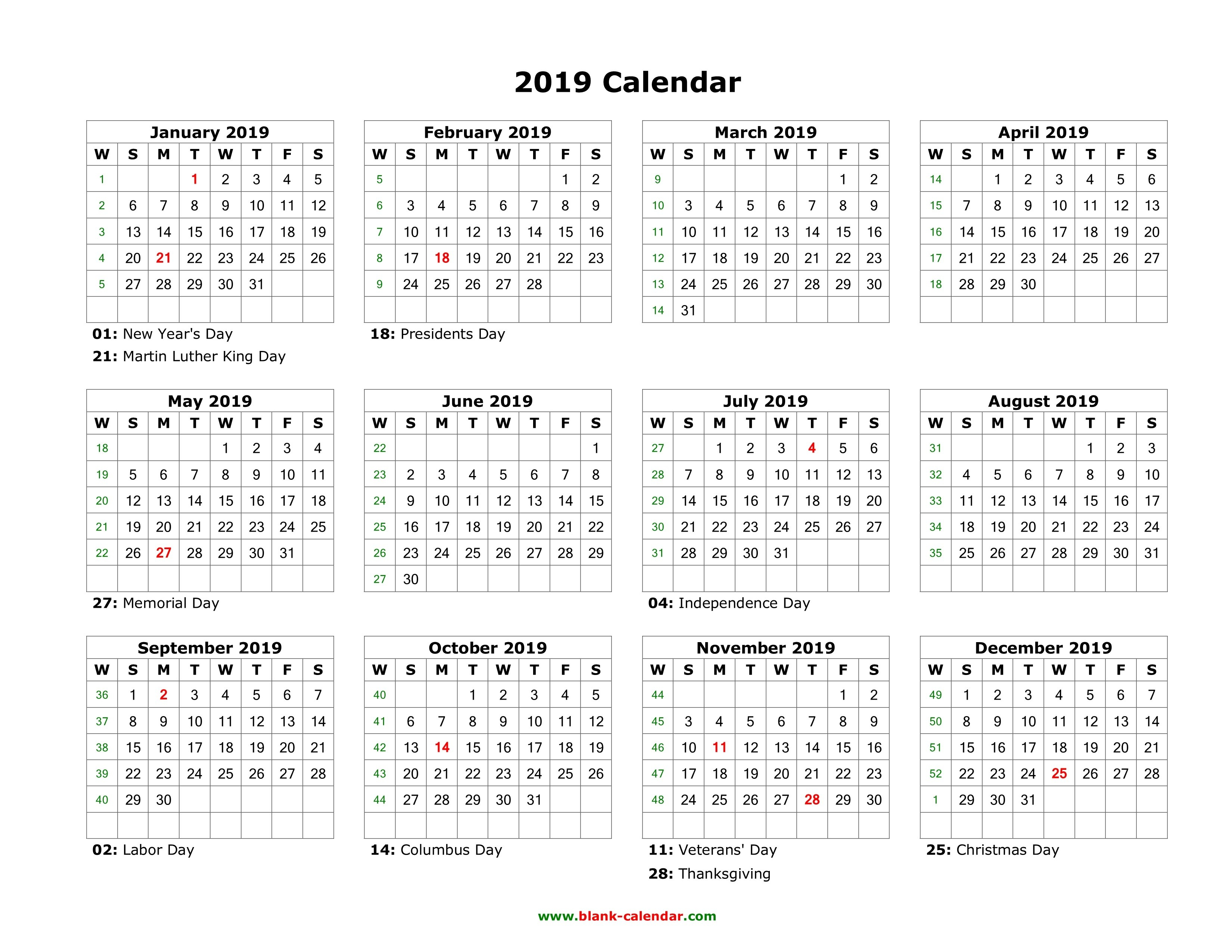 Download Blank Calendar 2019 With Us Holidays (12 Months On One Page 1 Page Yearly Calendar 2019