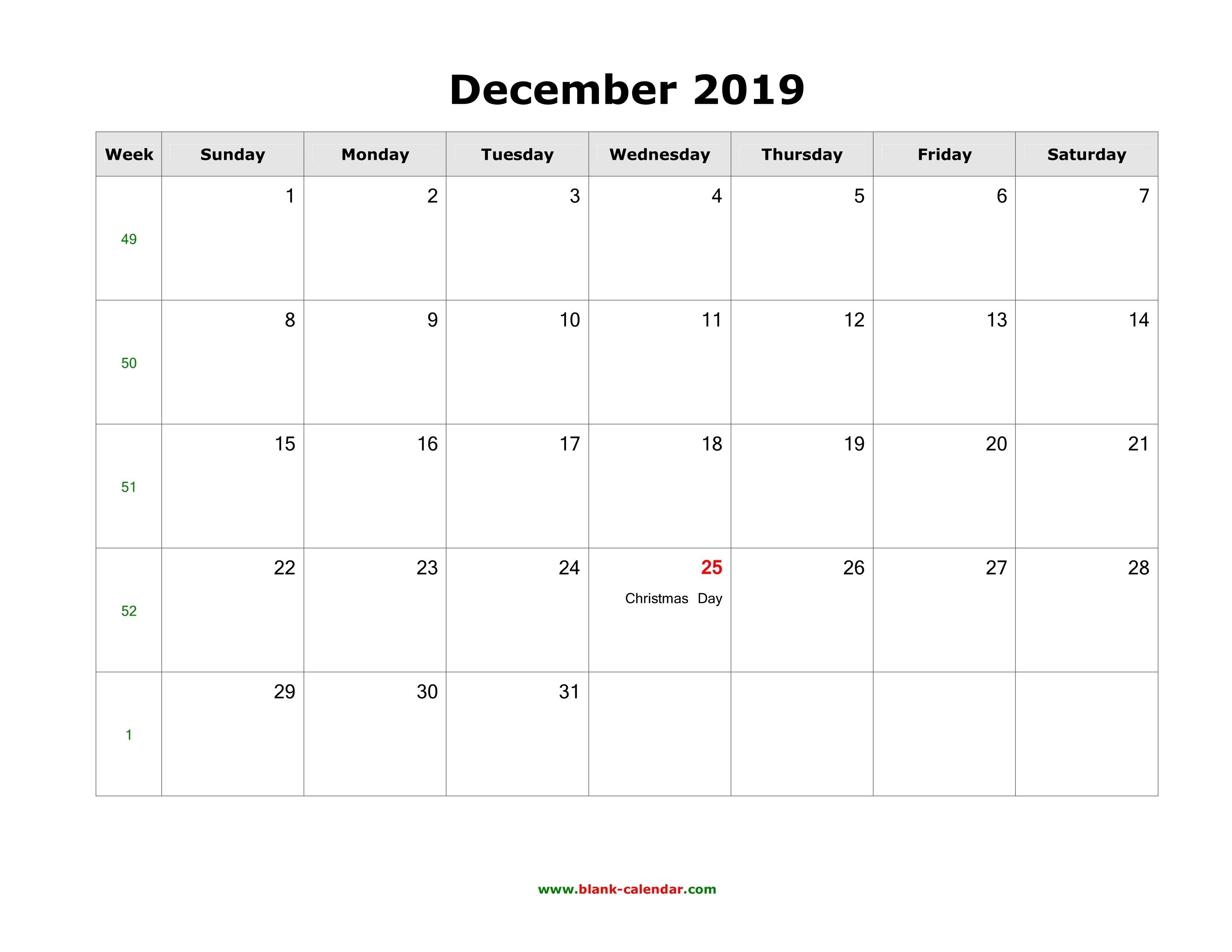 Download December 2019 Blank Calendar With Us Holidays (Horizontal) Calendar 2019 December