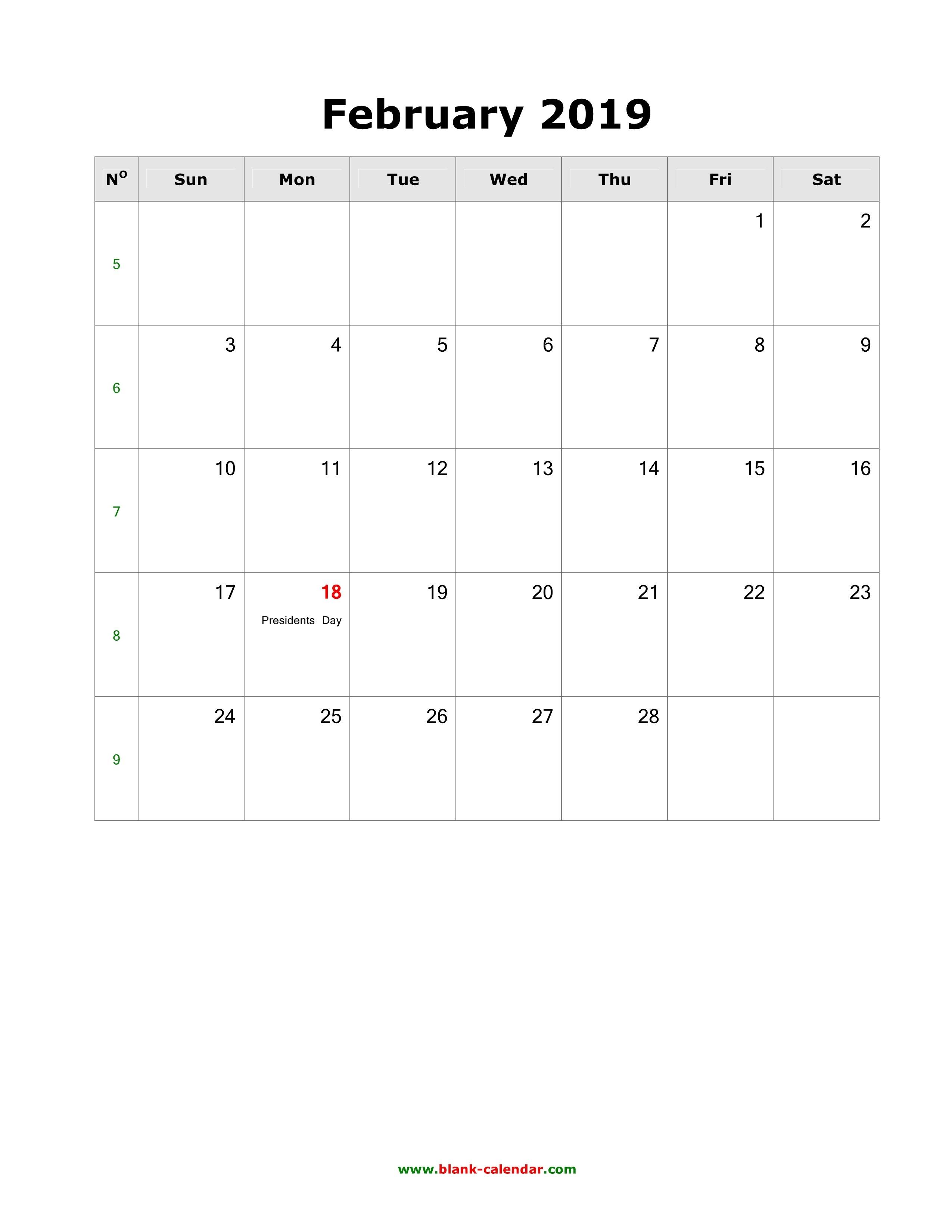 Download February 2019 Blank Calendar With Us Holidays (Vertical) Calendar 2019 Including Holidays