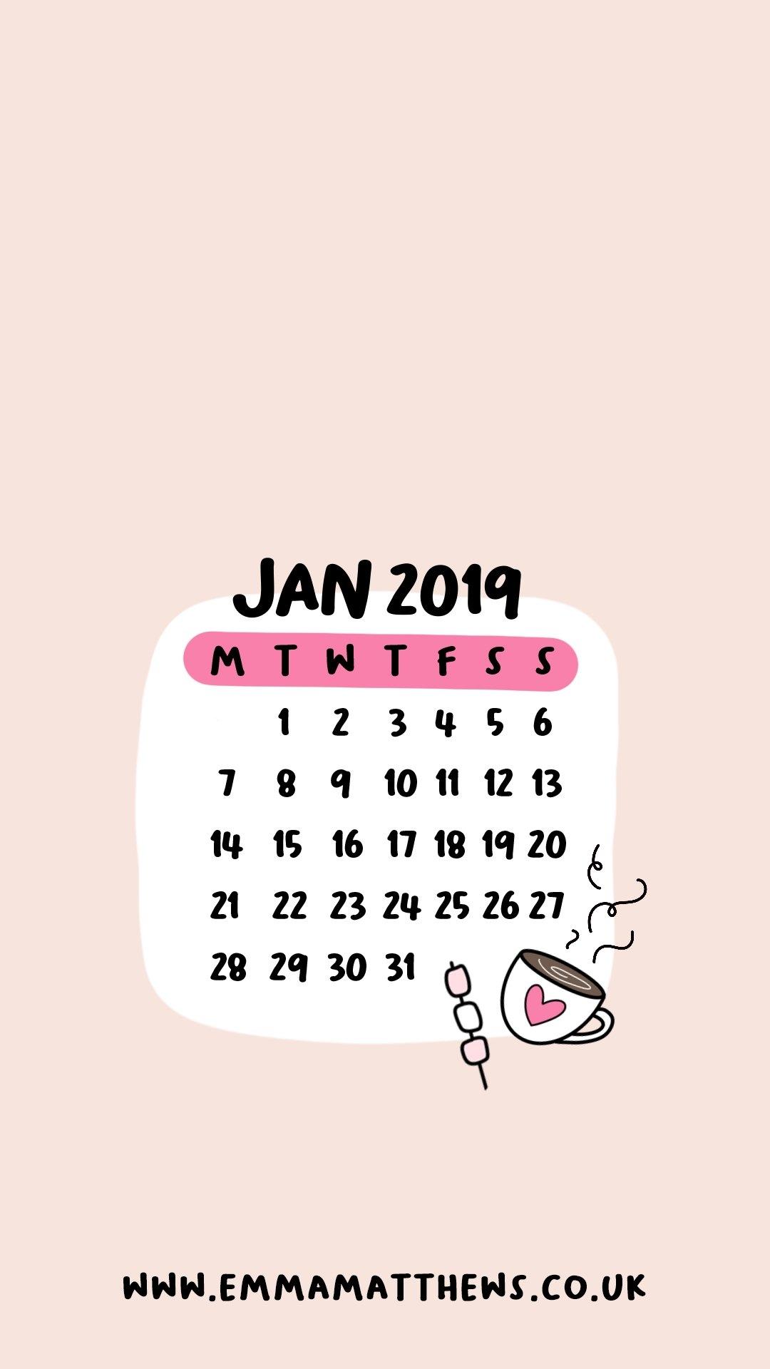 Download Free 2019 Iphone Calendar Wallpapers – Emma Matthews Calendar 2019 On My Iphone