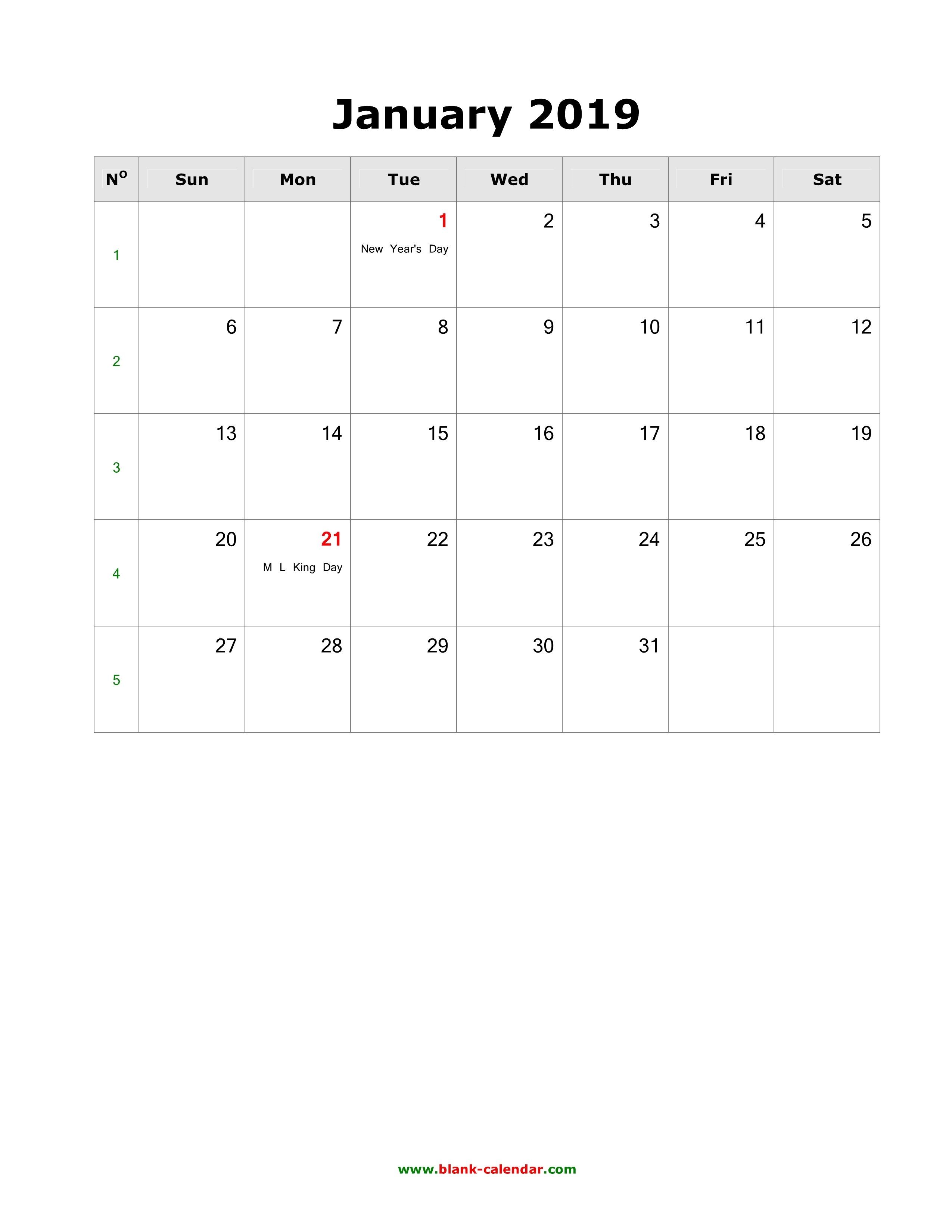 Download January 2019 Blank Calendar With Us Holidays (Vertical) Calendar 2019 January With Holidays