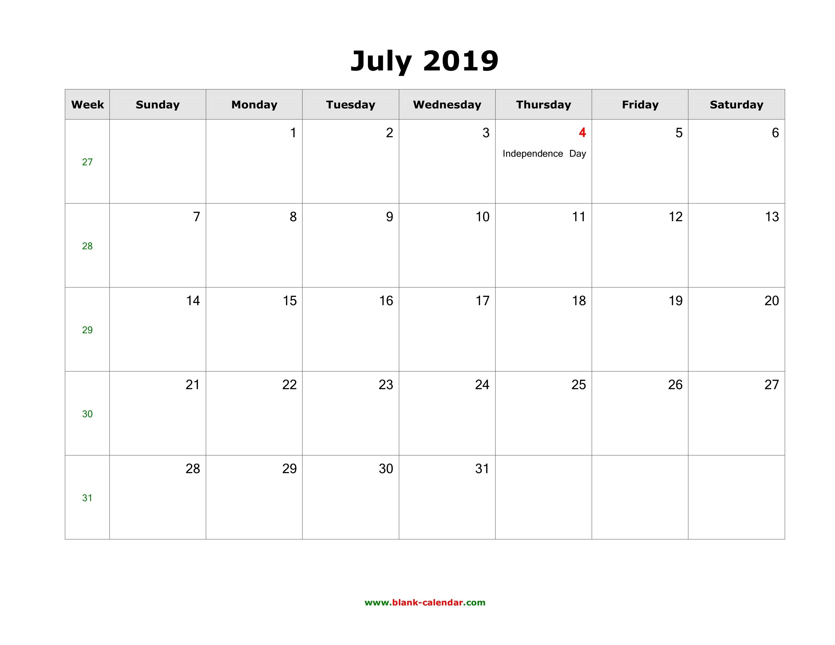 Download July 2019 Blank Calendar With Us Holidays (Horizontal) July 2 2019 Calendar