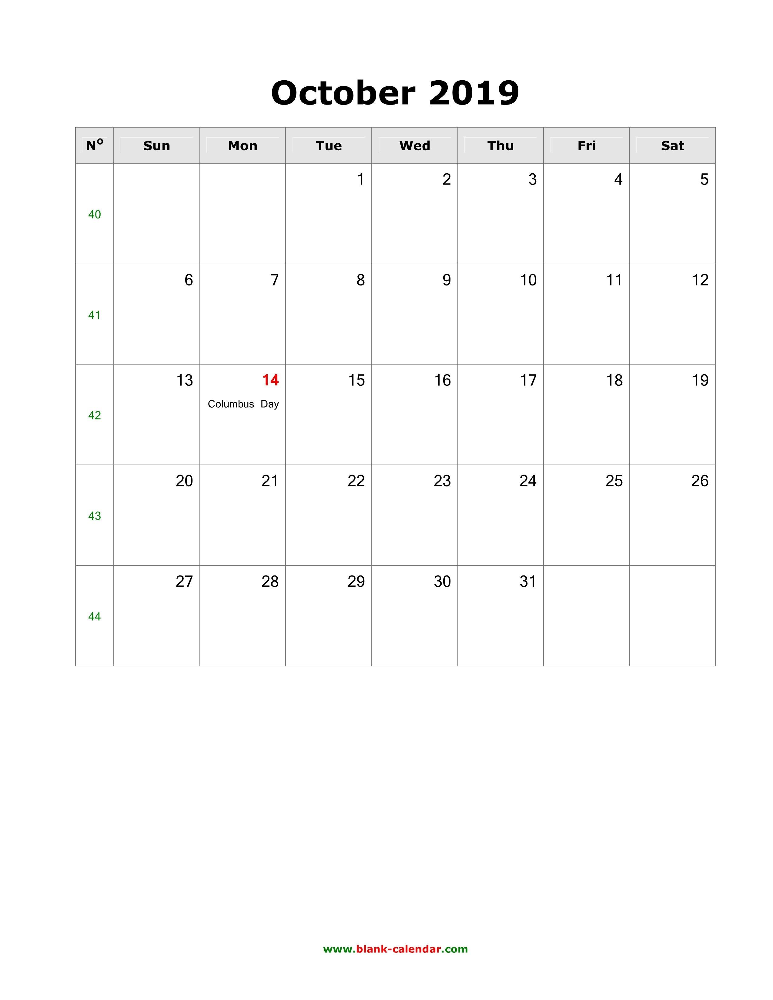 Download October 2019 Blank Calendar With Us Holidays (Vertical) Calendar 2019 Oct