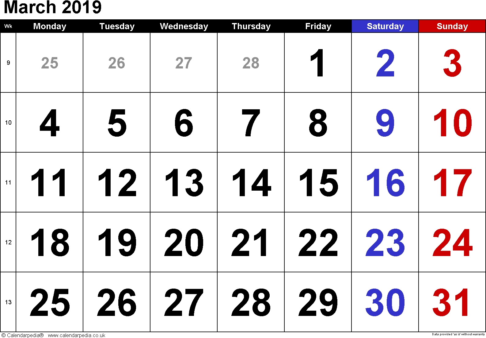 Download Printable March 2019 Calendar With Holidays | Calendar 2018 March 7 2019 Calendar