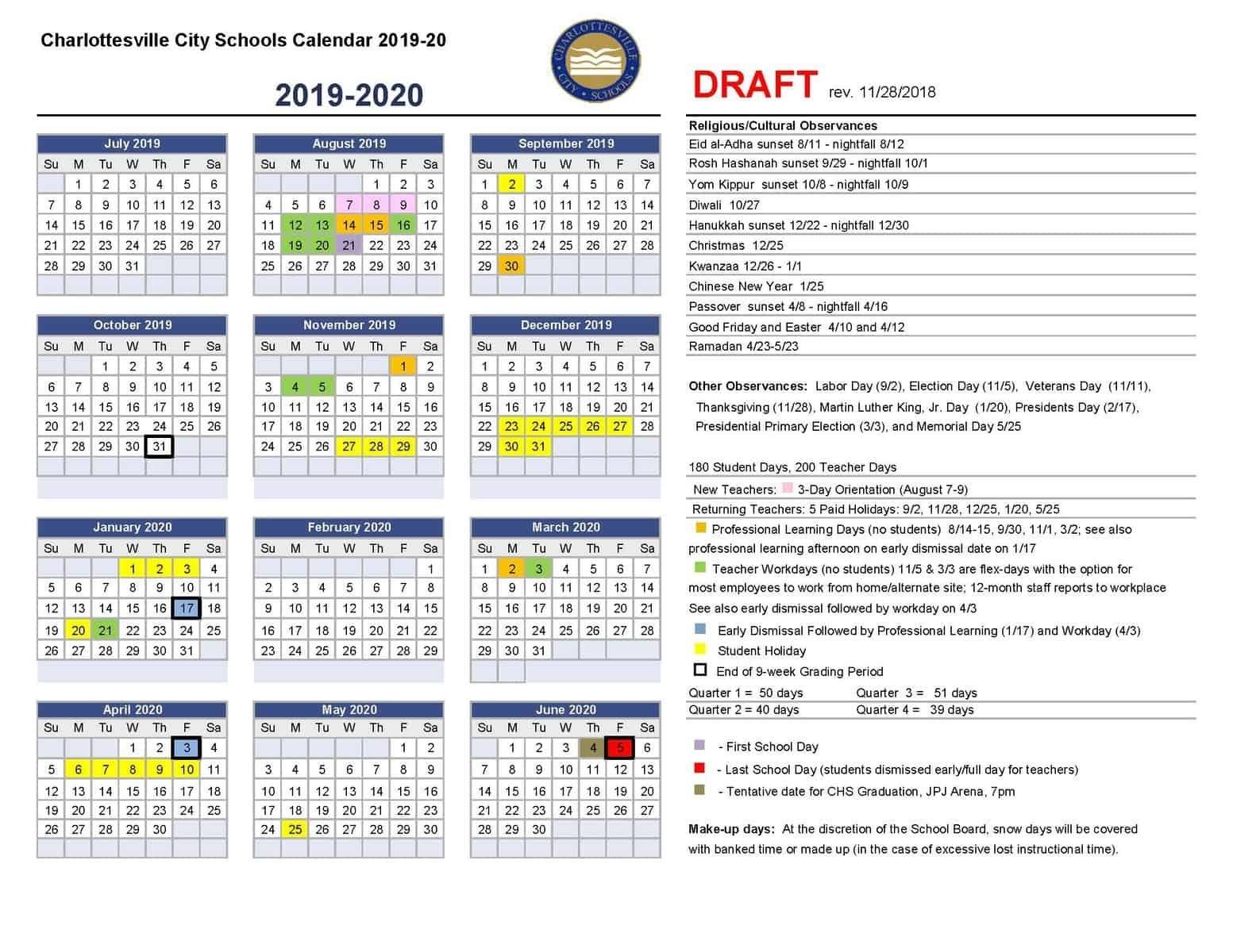 Draft Calendar For 2019-20   Charlottesville City Schools Calendar 2019 20