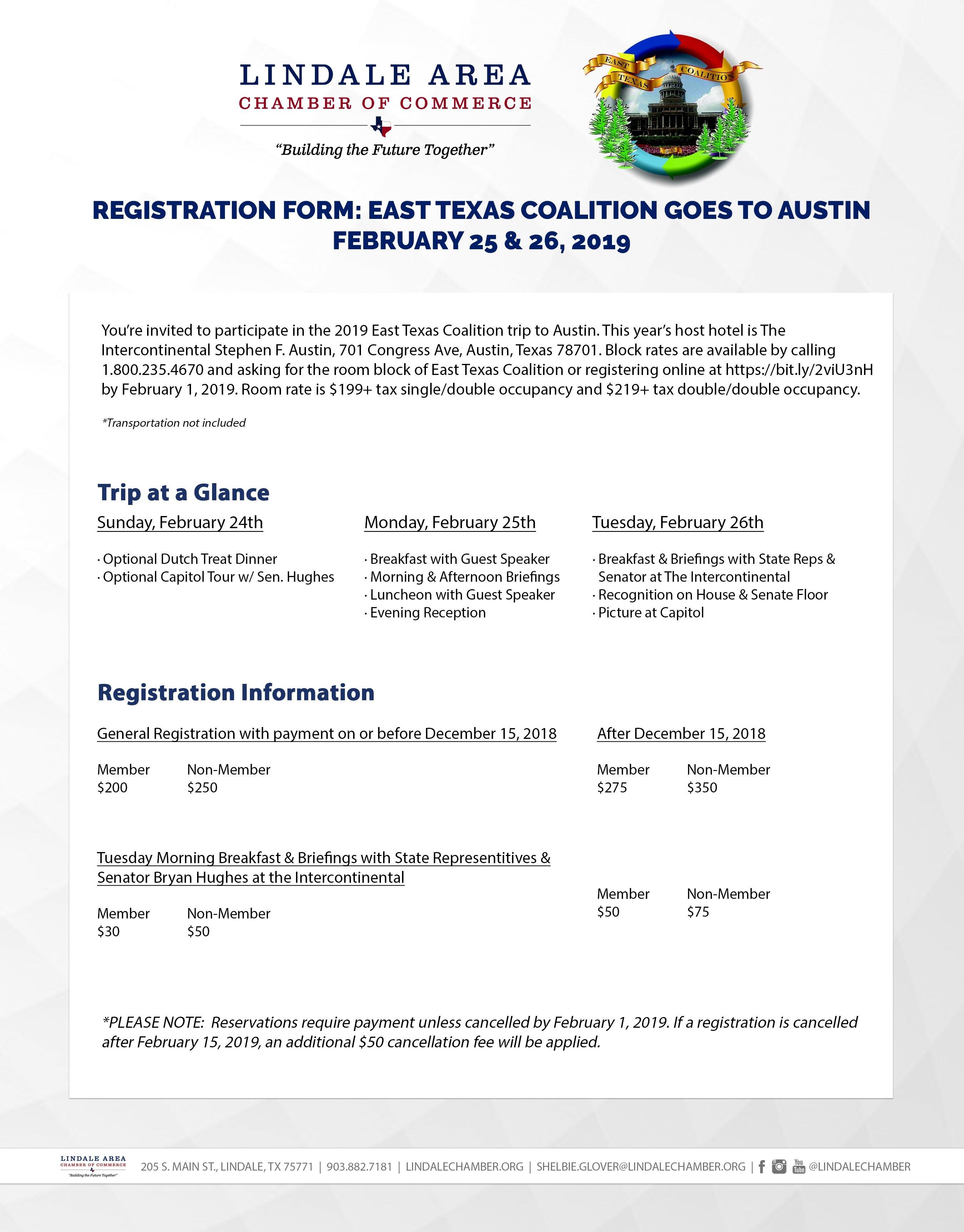 East Texas Coalition Goes To Austin – Feb 25, 2019 To Feb 26, 2019 Stephen F Austin Calendar 2019