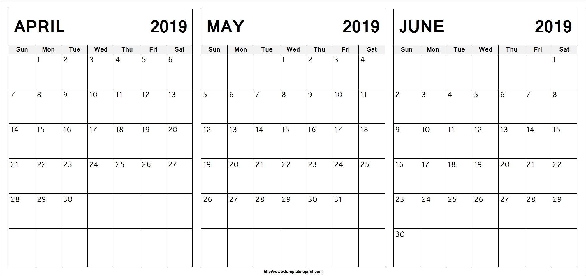Editable April May June 2019 Calendar #april #may #june Calendar 2019 May June