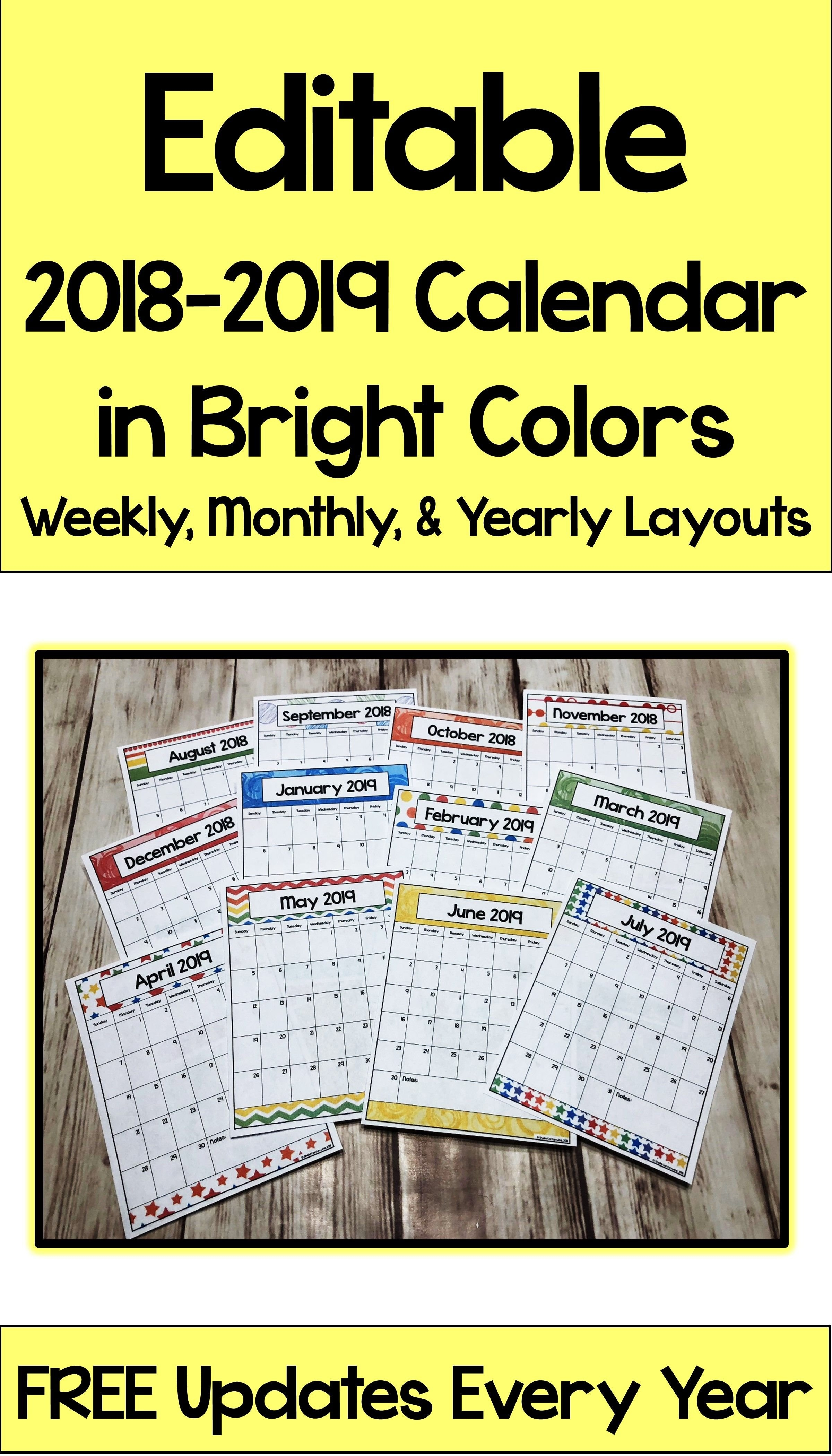 Editable Calendar 2019 2020 In Bright Colors With Automatic Updates Calendar 2019 Purchase