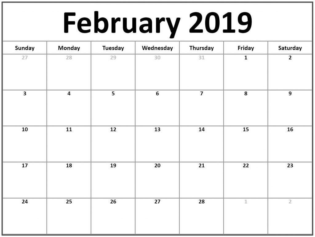 Editable February 2019 Calendar Printable – 2019 Monthly Calendar 2019 Calendar You Can Edit