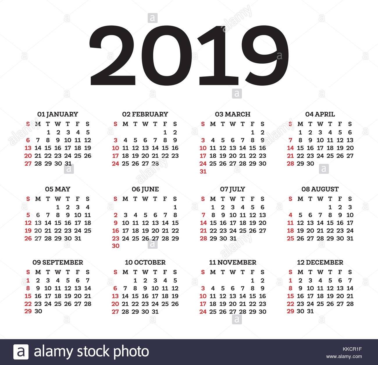 England Date Stock Vector Images – Alamy Calendar 2019 Romanesc