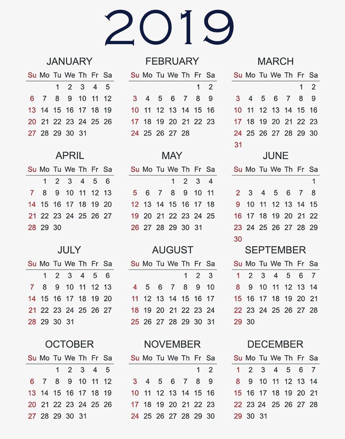 Eprintable: 2019 Calendar Printable Blue Calendar 2019 Vertical