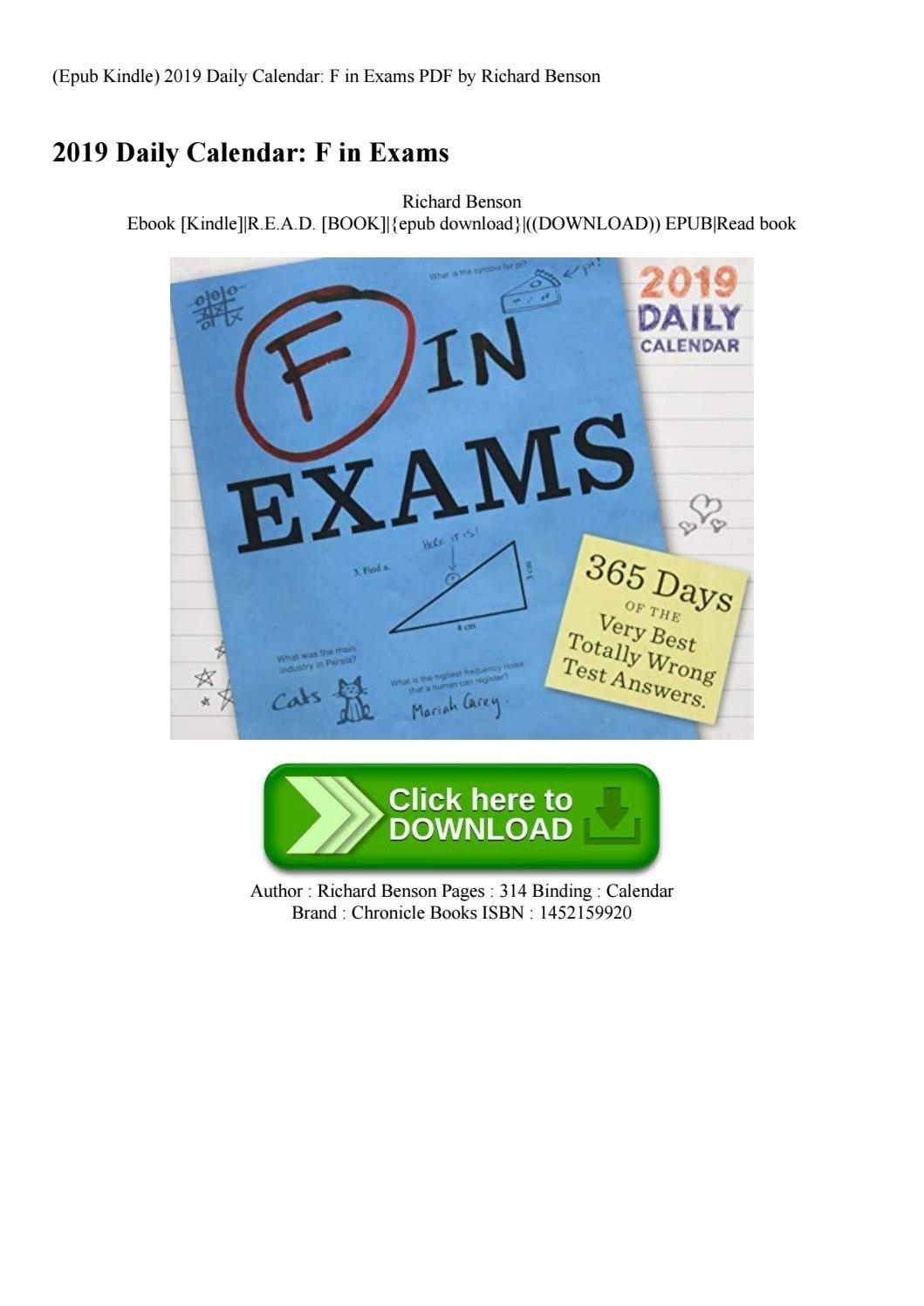 Epub Kindle) 2019 Daily Calendar F In Exams Pdfrichard Benson F In Exams 2019 Calendar