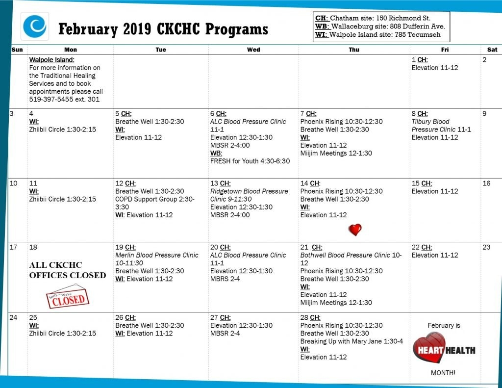 Event & Program Calendar C&k Calendar 2019